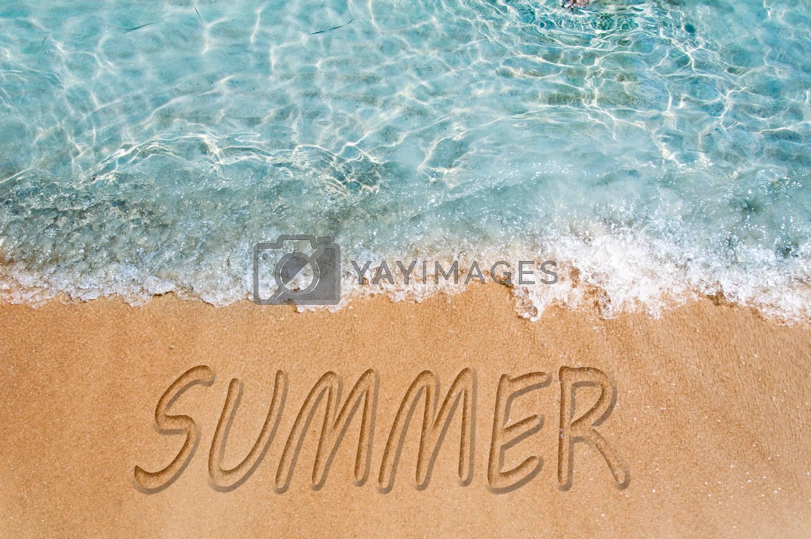 Summer word sign on the beach sand