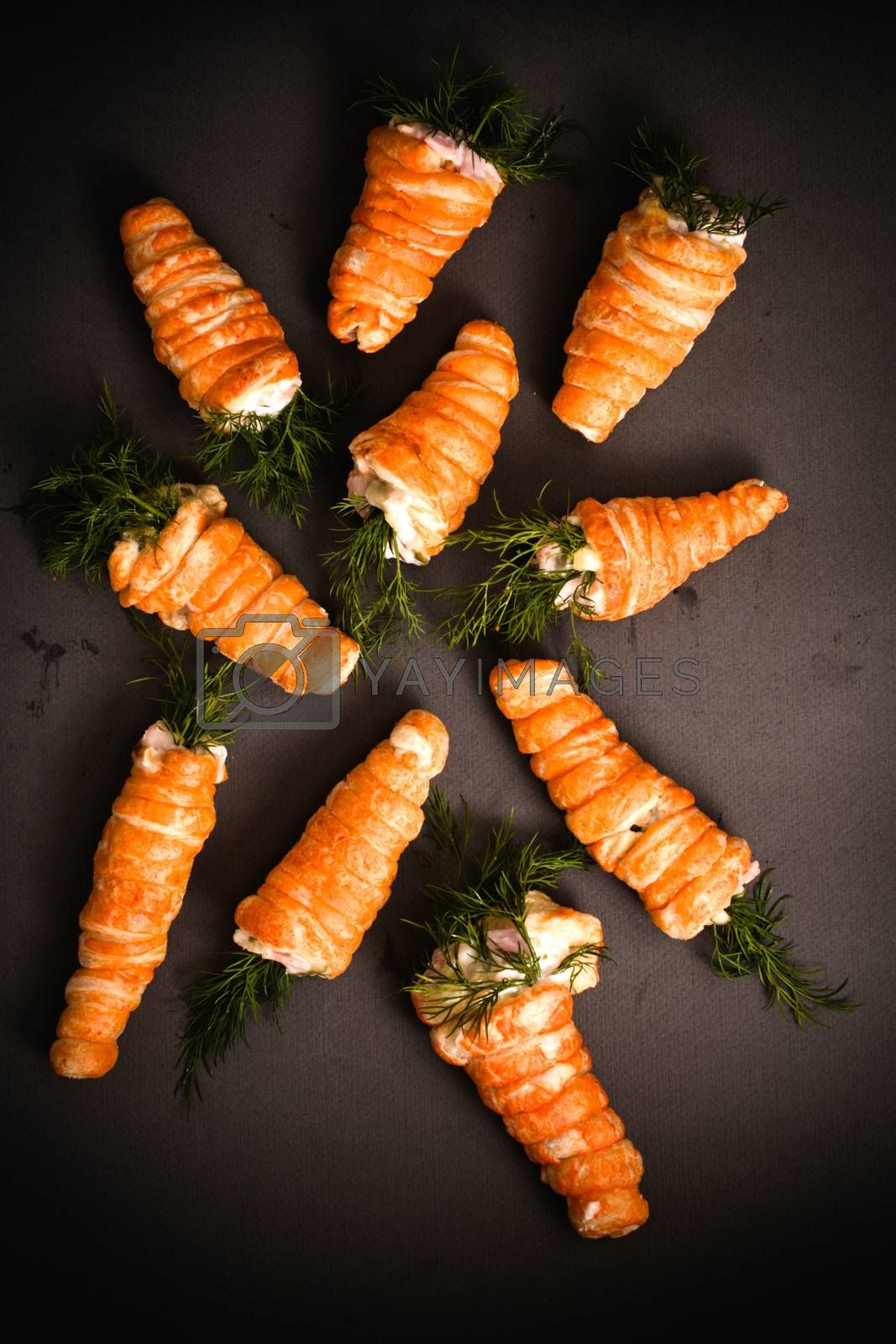 Easter carrots pastry stuffed with salad