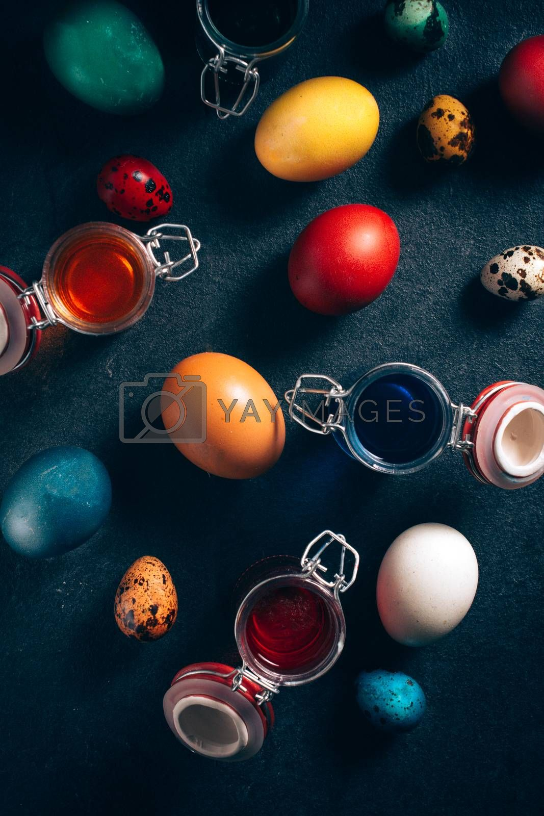 Large group of colorful Easter eggs from above,selective focus