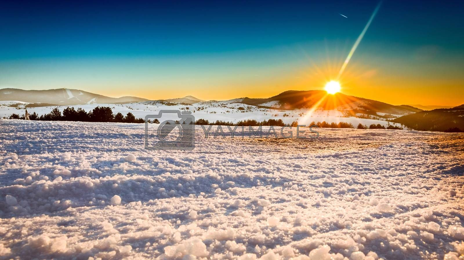 Beautiful Winter Landscape with sunset