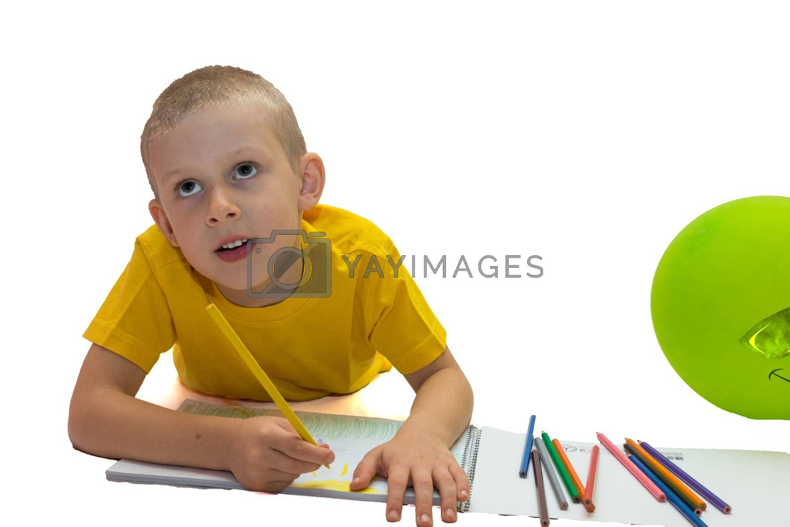 The picture shows a beautiful boy drawing a pencil on the album.
