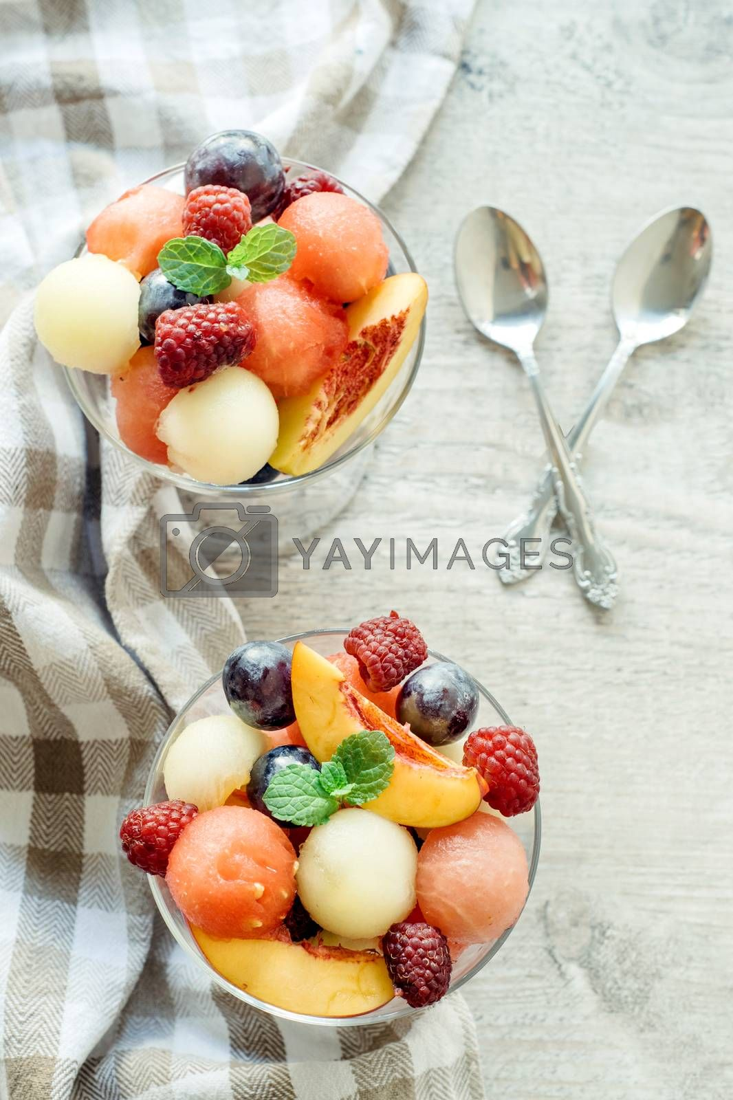 Fruit salads served in glass,selective focus