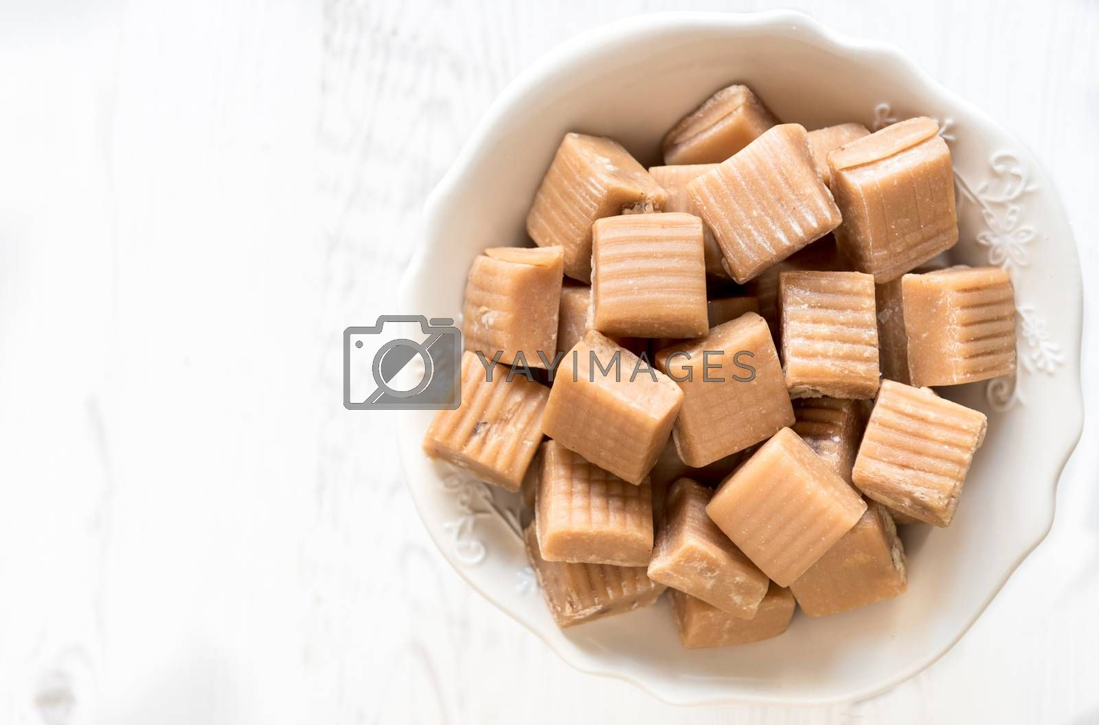 Sweet homemade milk and caramle bonbons,selective focus