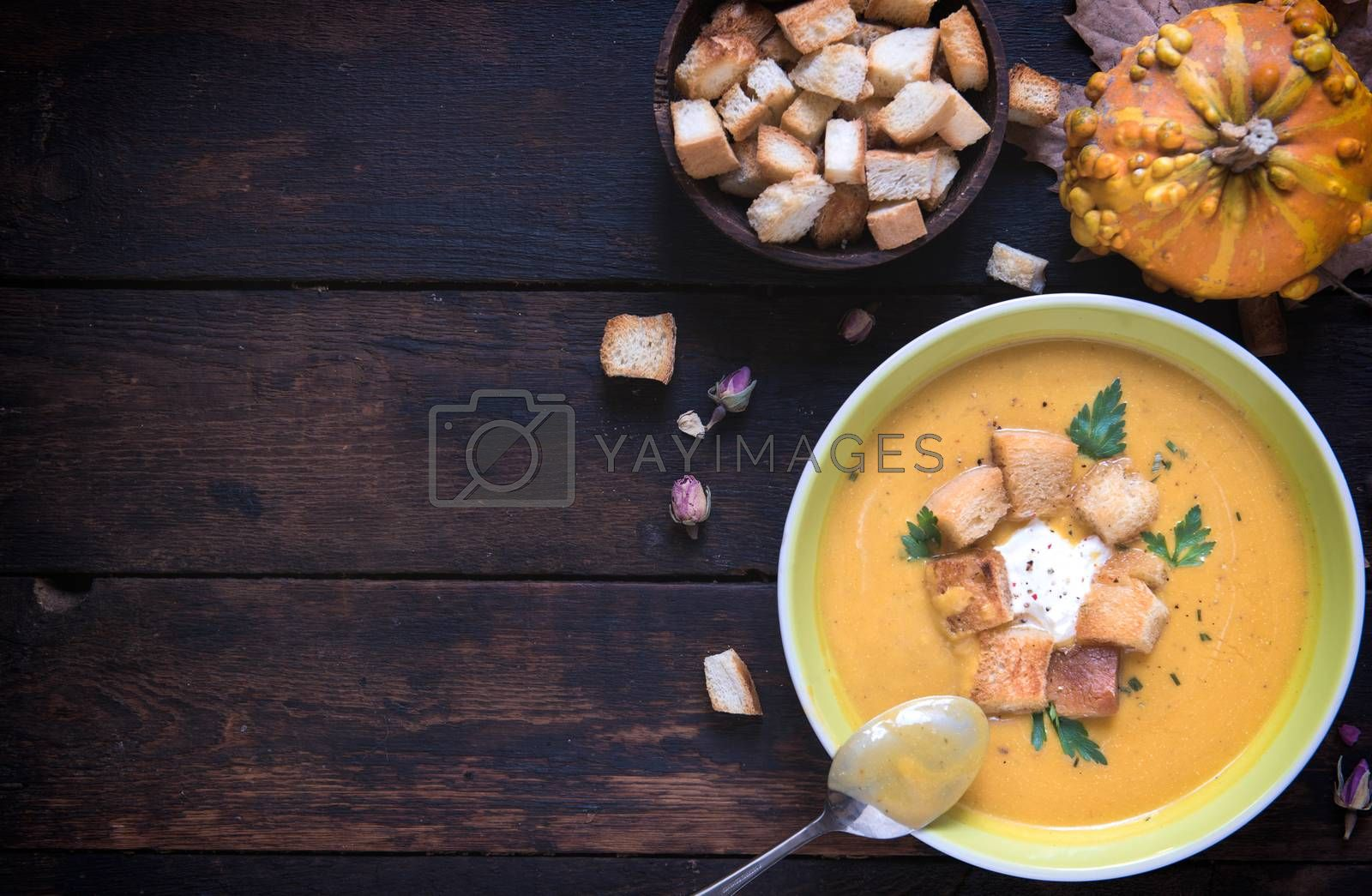 Homemade pumpkin soup with milk cream and croutons bread in the plate, from above and blank space