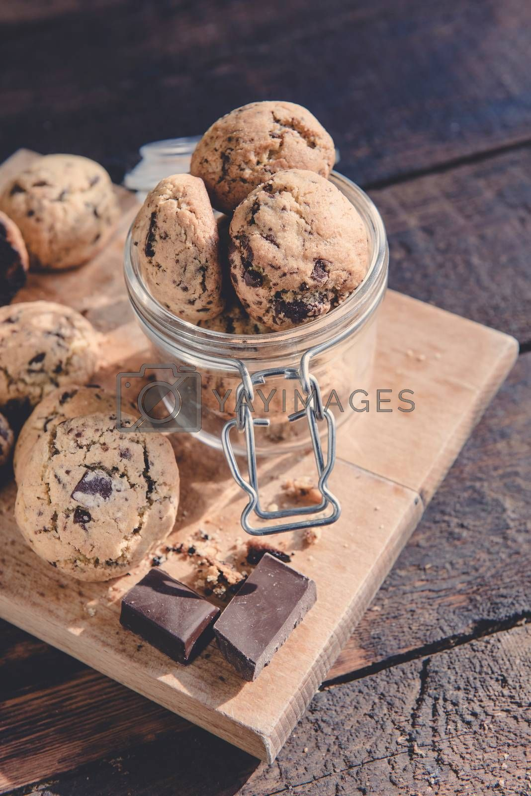 Mini chocolate chip cookies in the jar,selective focus