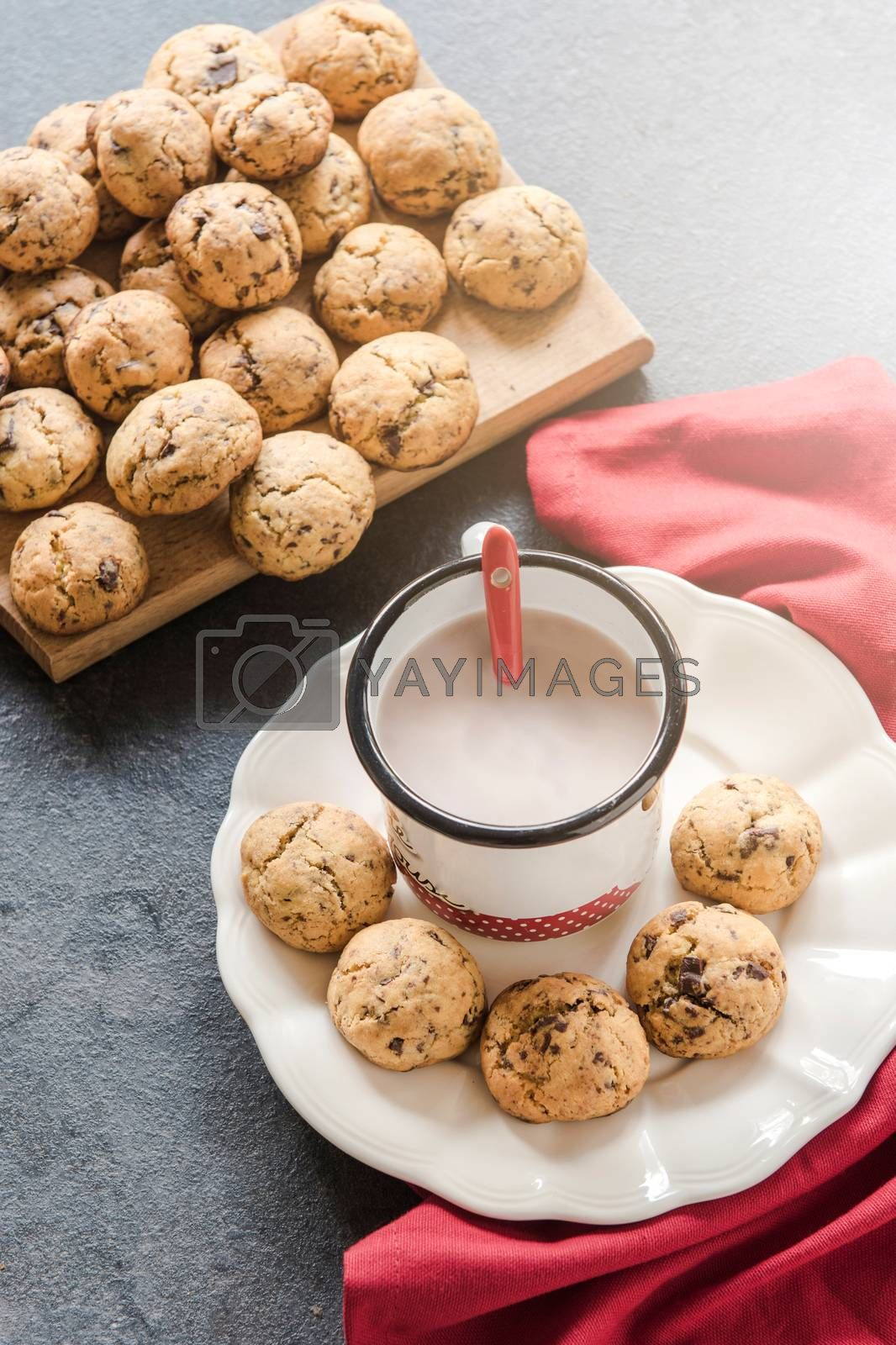 Homemade mini chip cookies with chocolate milk, selective focus