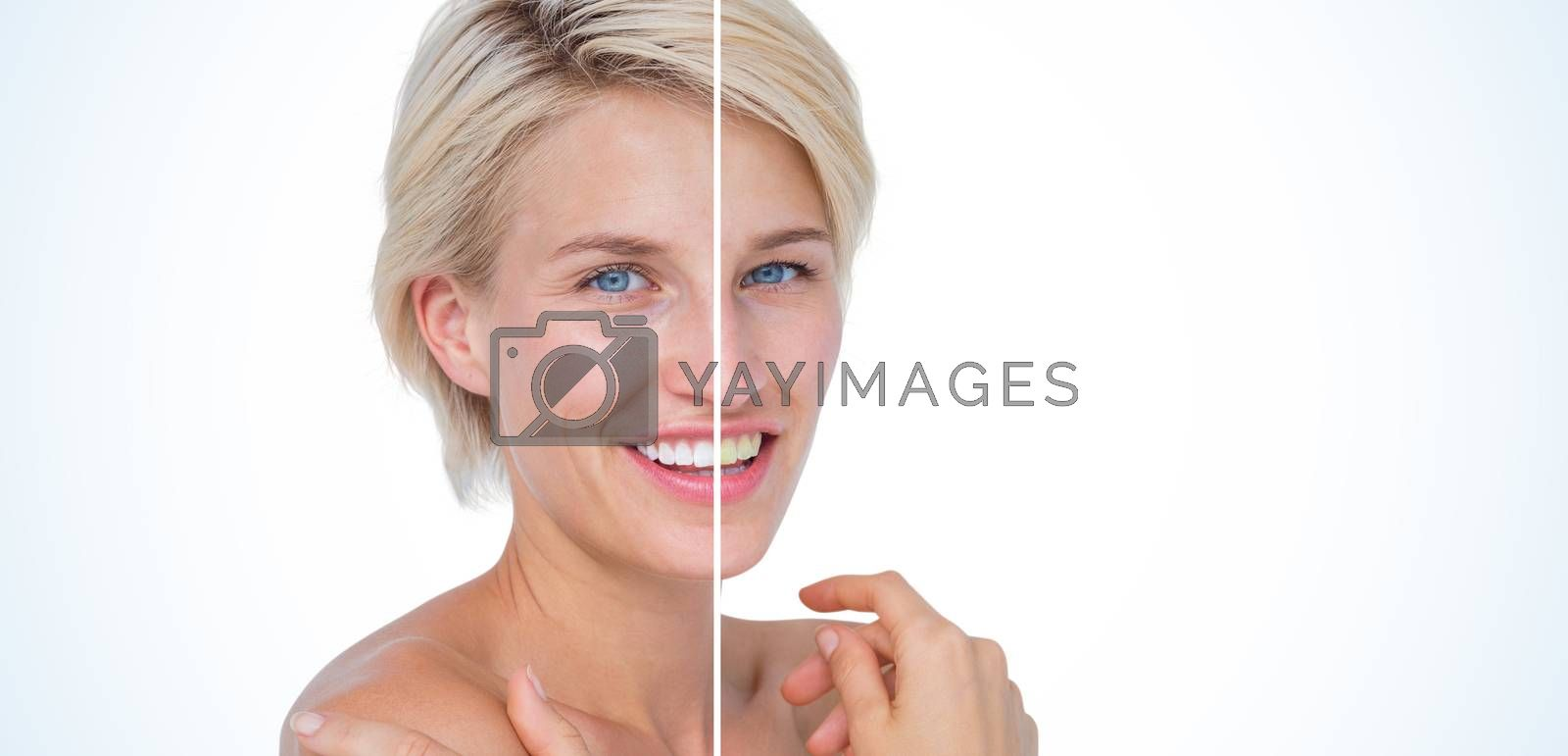 Peaceful woman touching her neck  by Wavebreakmedia