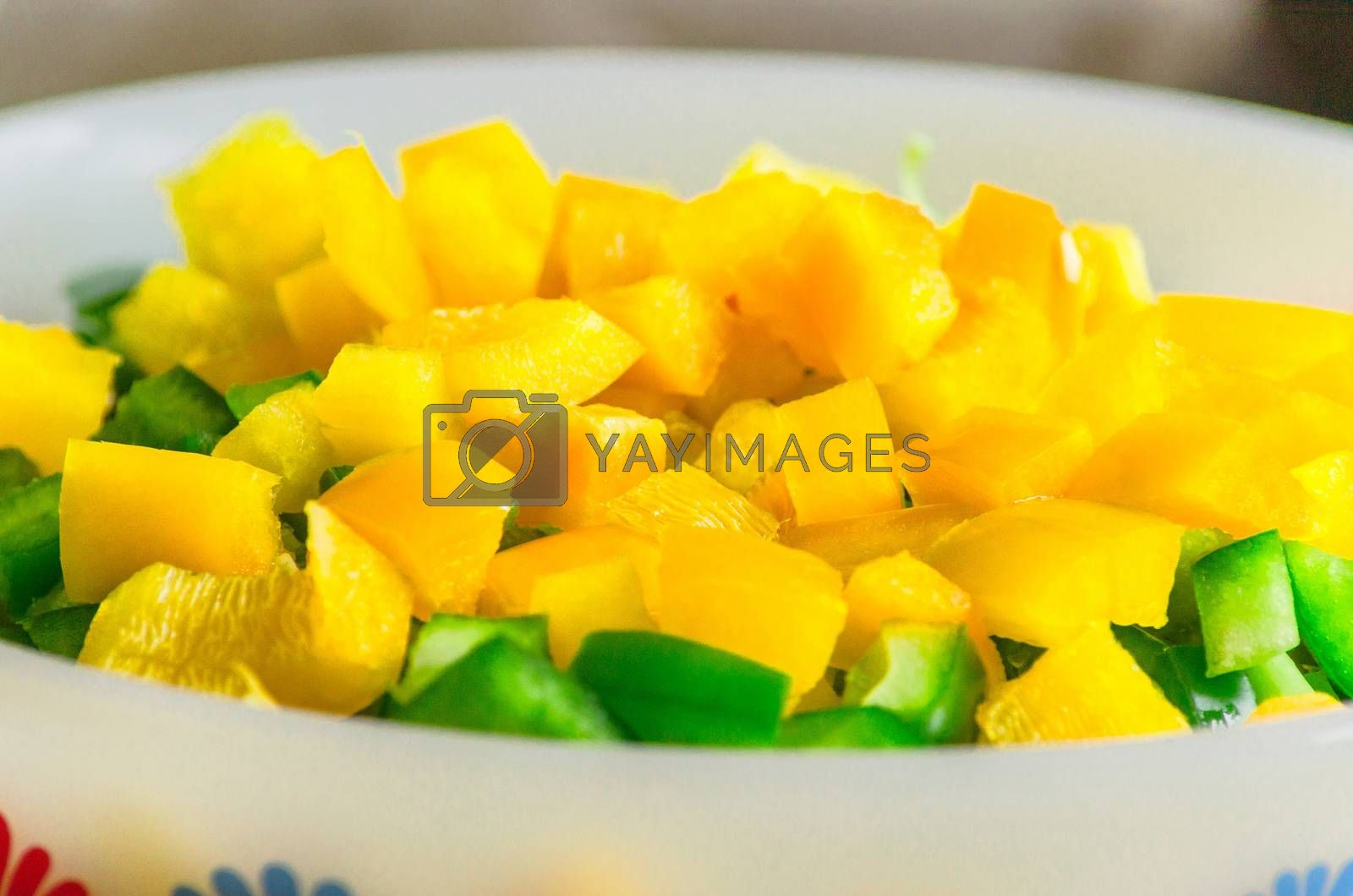 Paprika pieces in a bowl by JFsPic