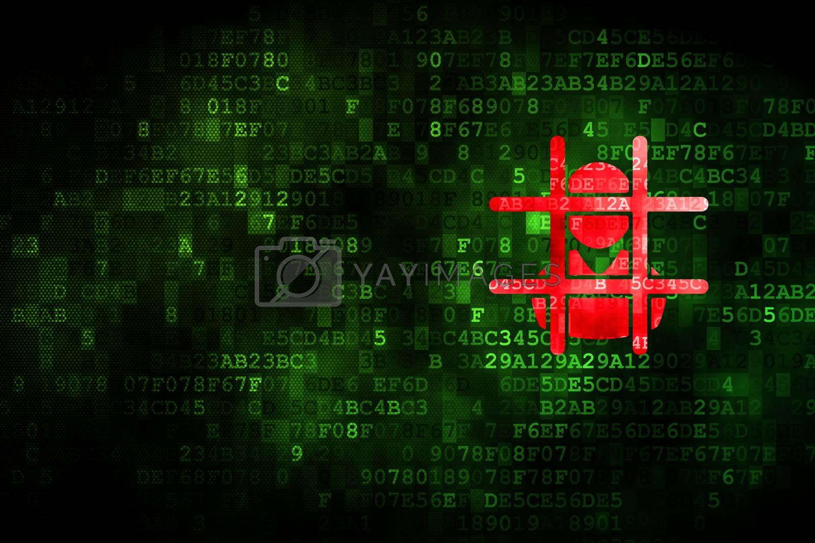 Law concept: Criminal on digital background by maxkabakov