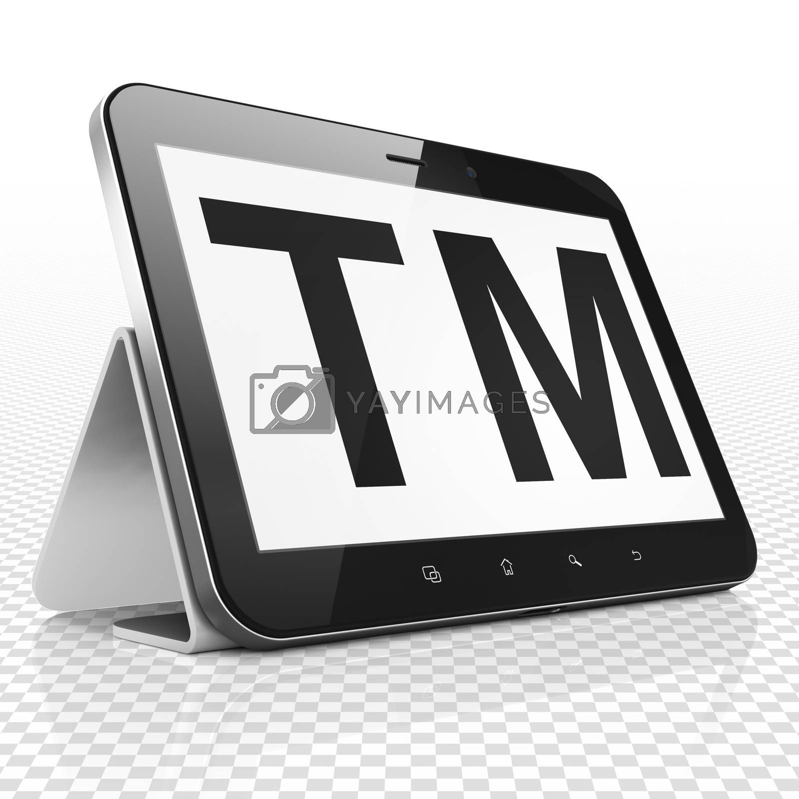 Law concept: Tablet Computer with Trademark on display by maxkabakov