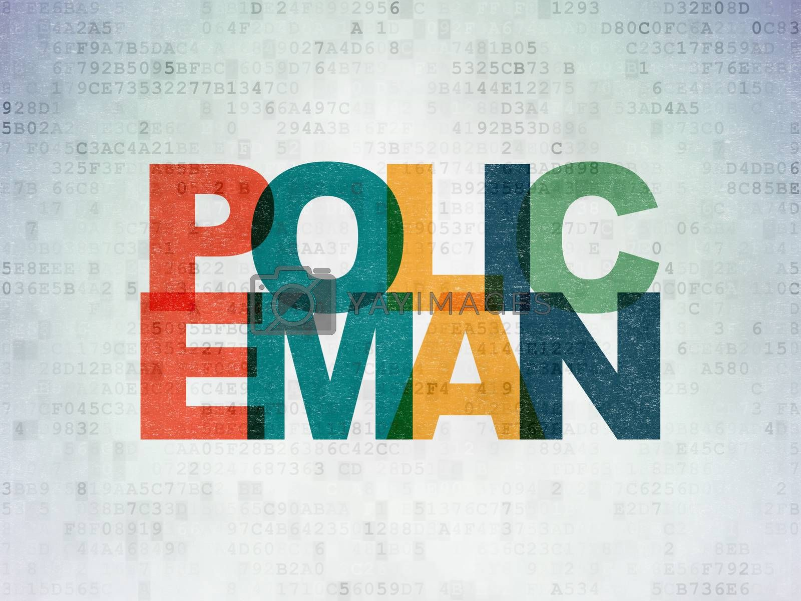Law concept: Policeman on Digital Paper background by maxkabakov