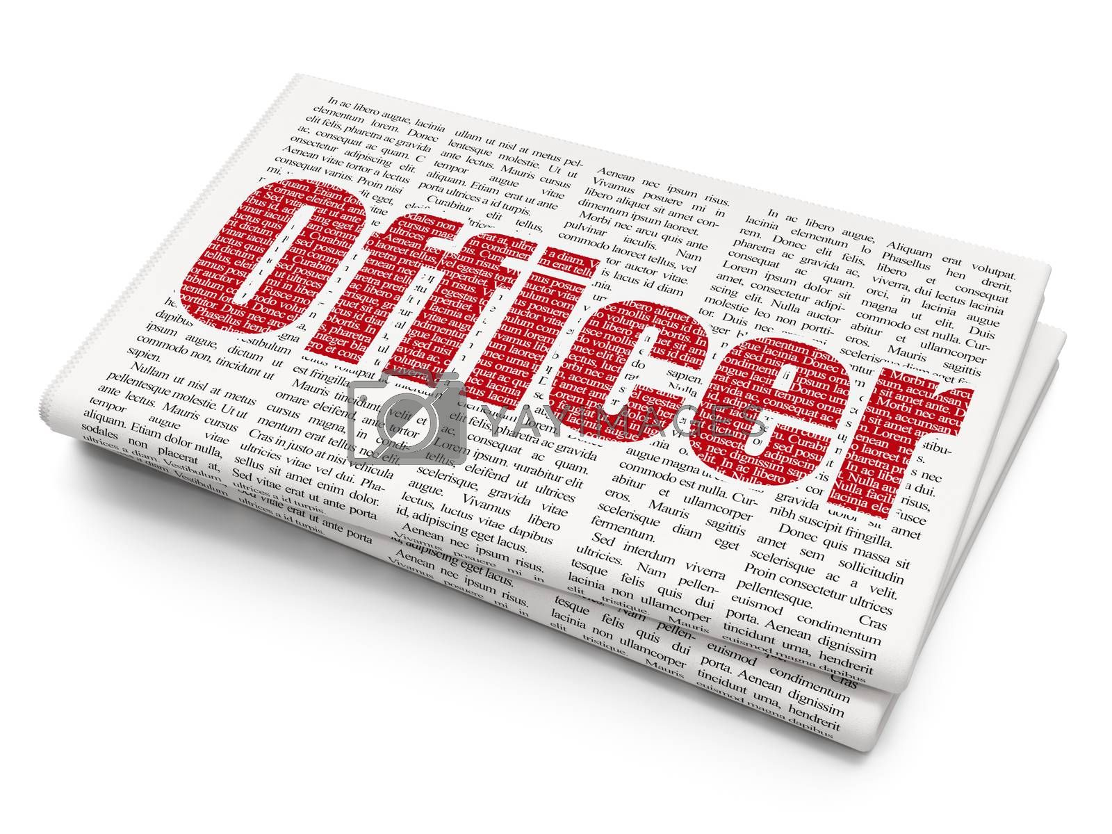 Law concept: Officer on Newspaper background by maxkabakov
