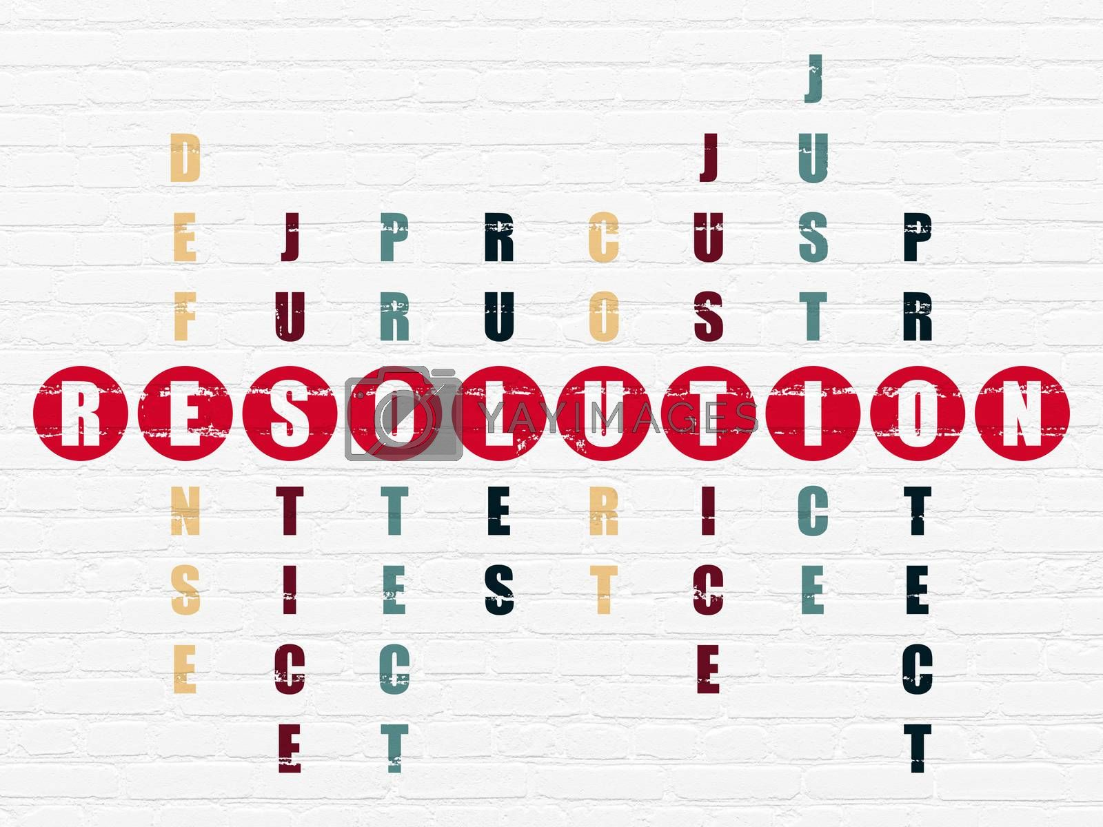 Law concept: Resolution in Crossword Puzzle by maxkabakov