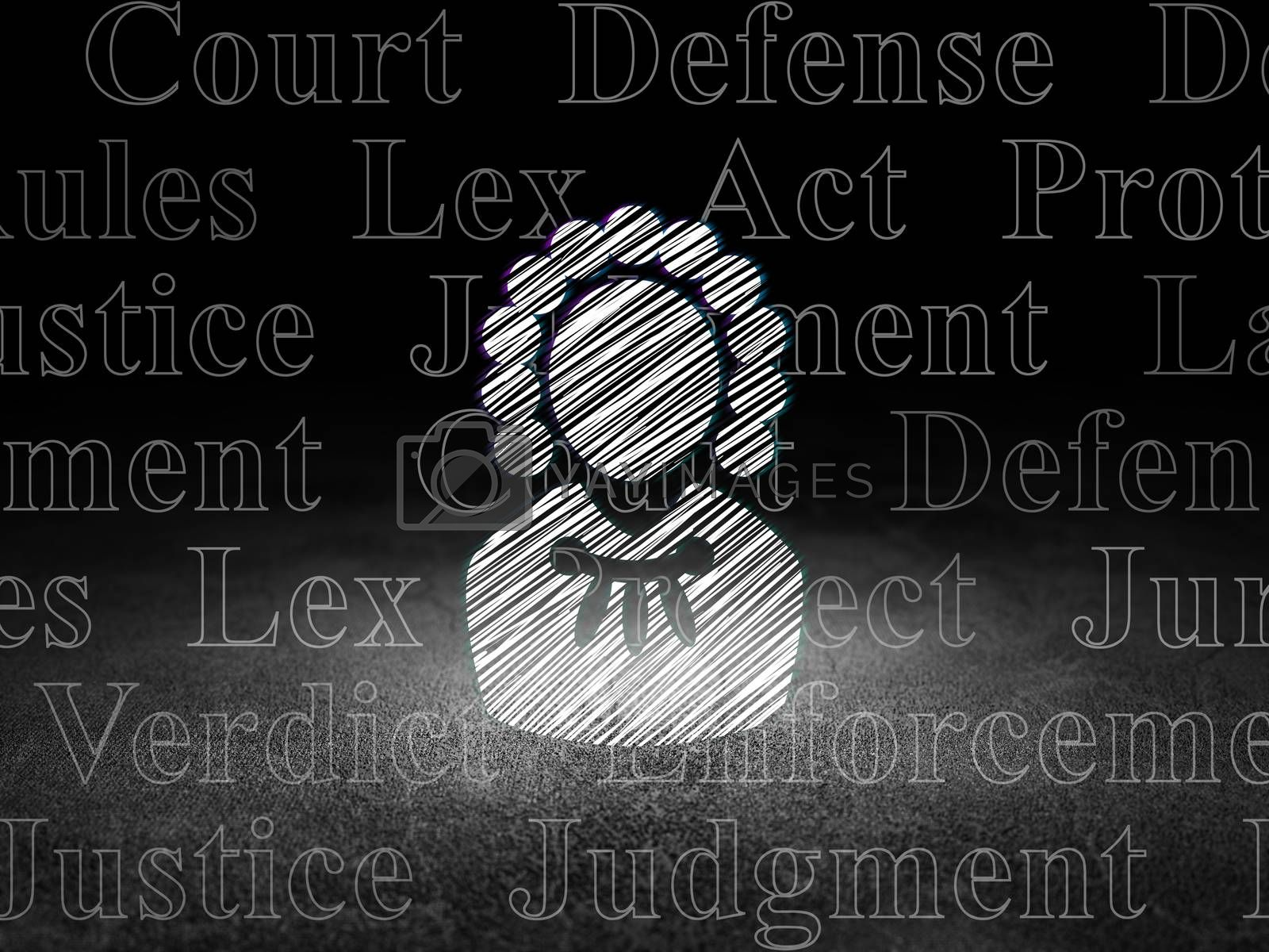 Law concept: Judge in grunge dark room by maxkabakov