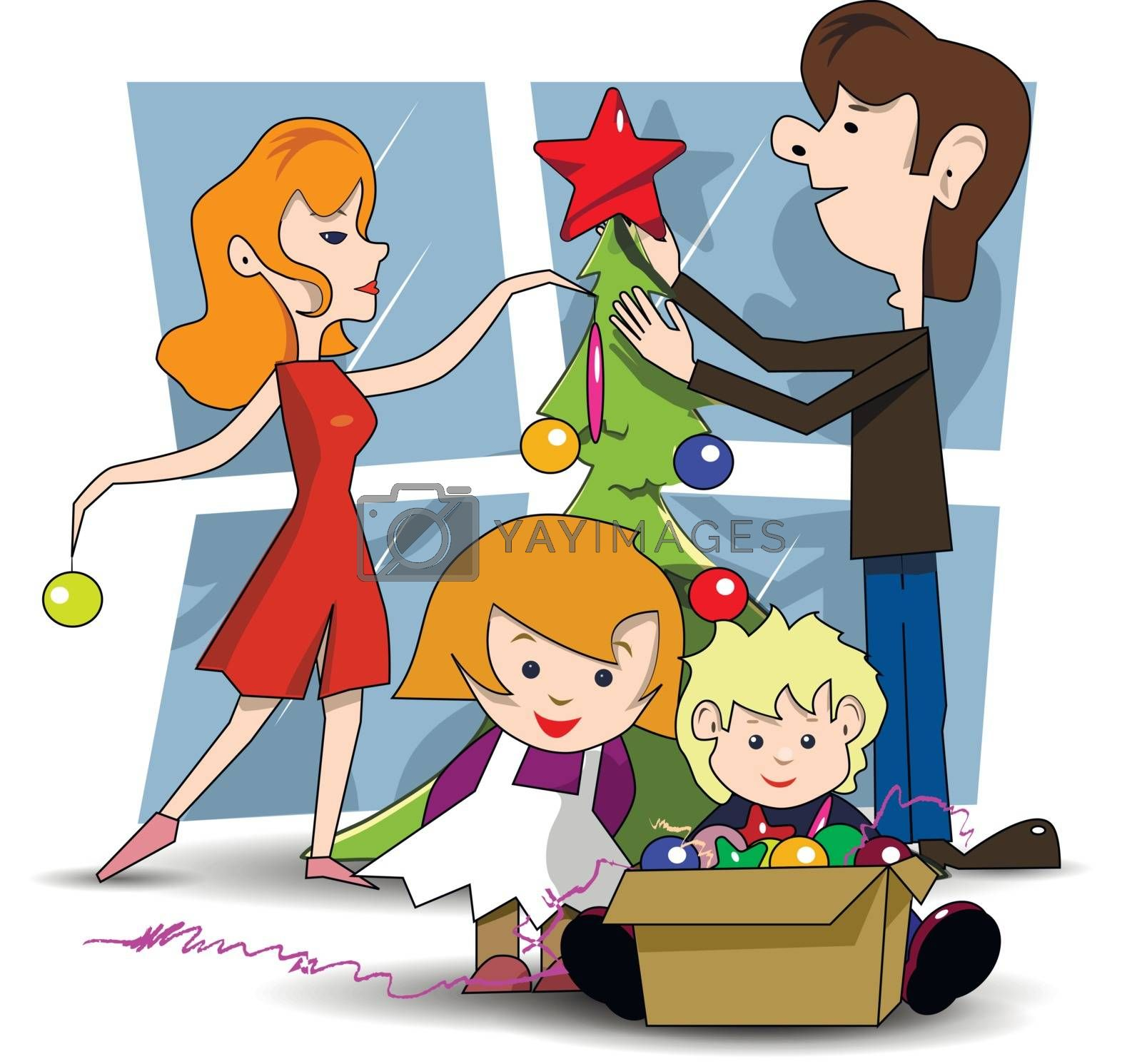 Decorating Christmas tree by brux