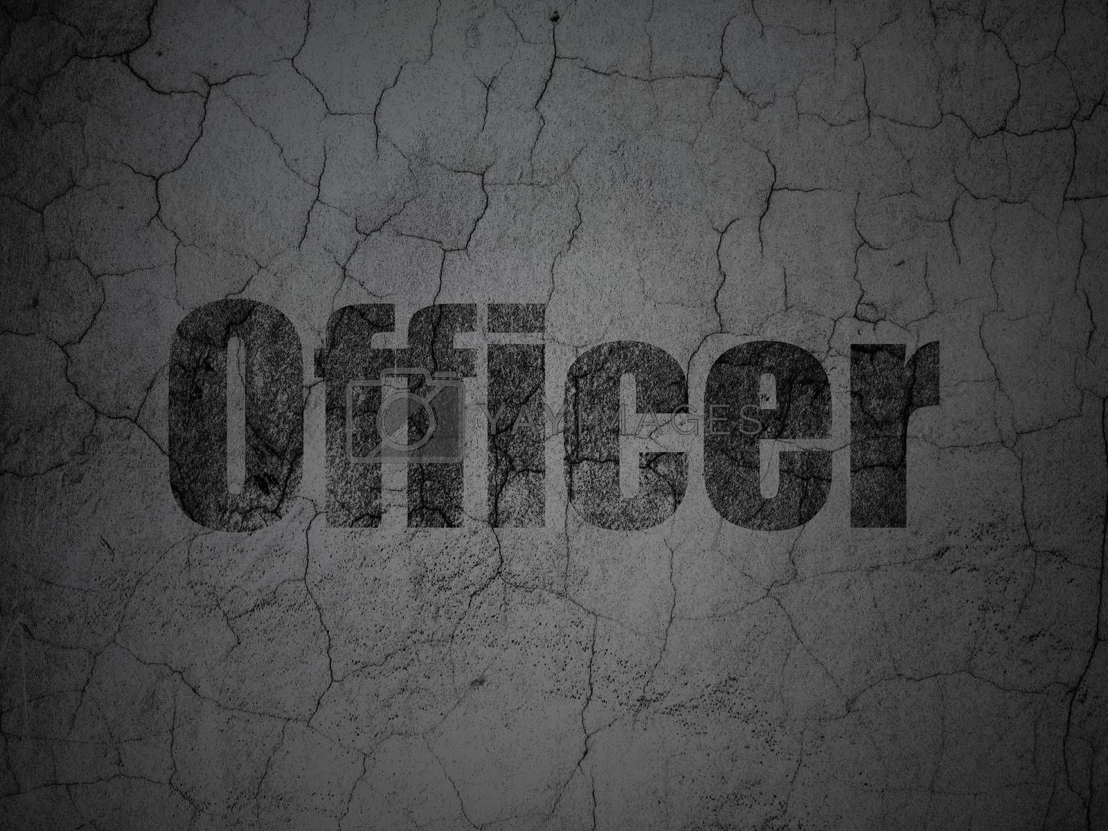 Law concept: Officer on grunge wall background by maxkabakov