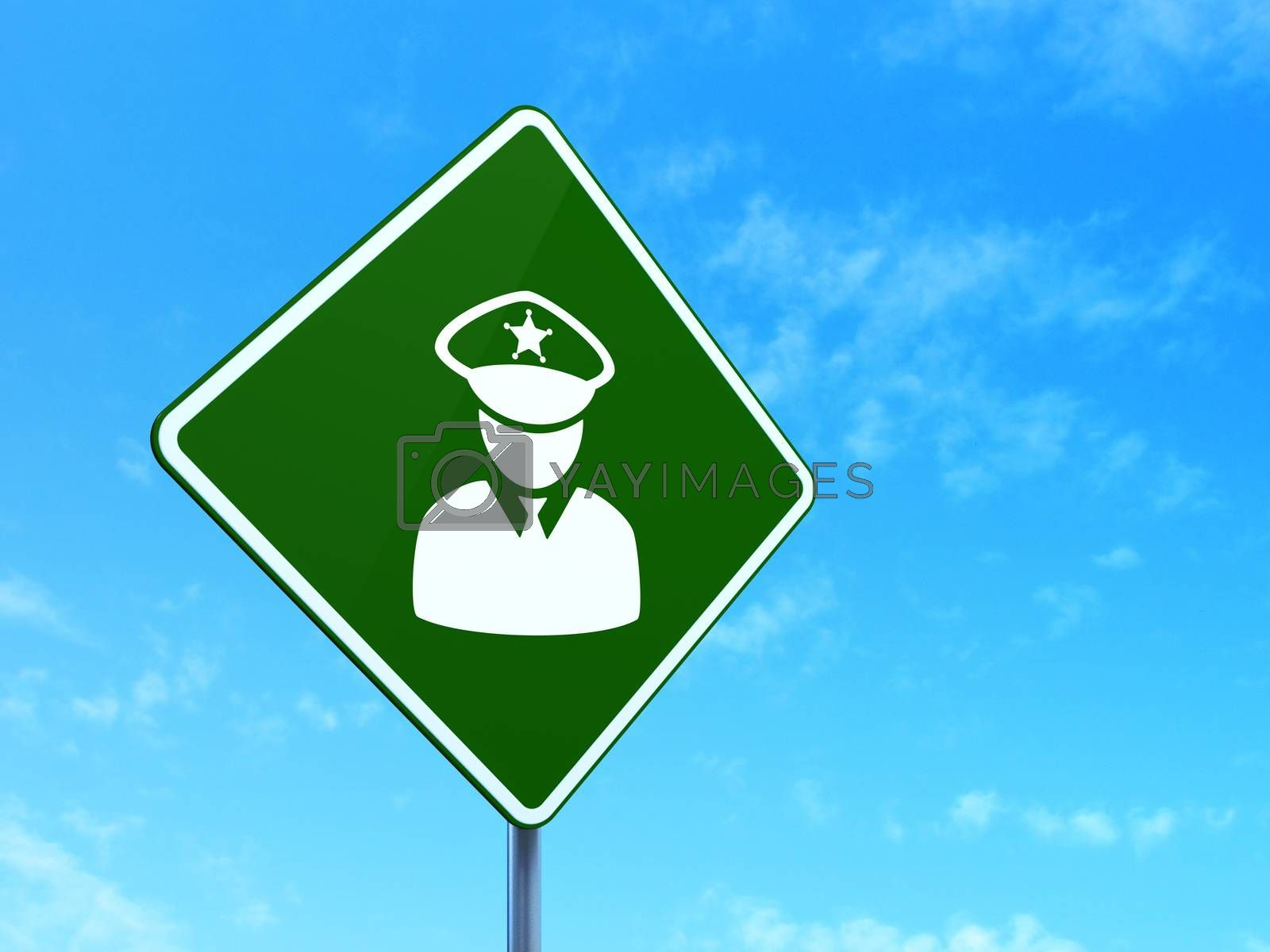 Law concept: Police on road sign background by maxkabakov