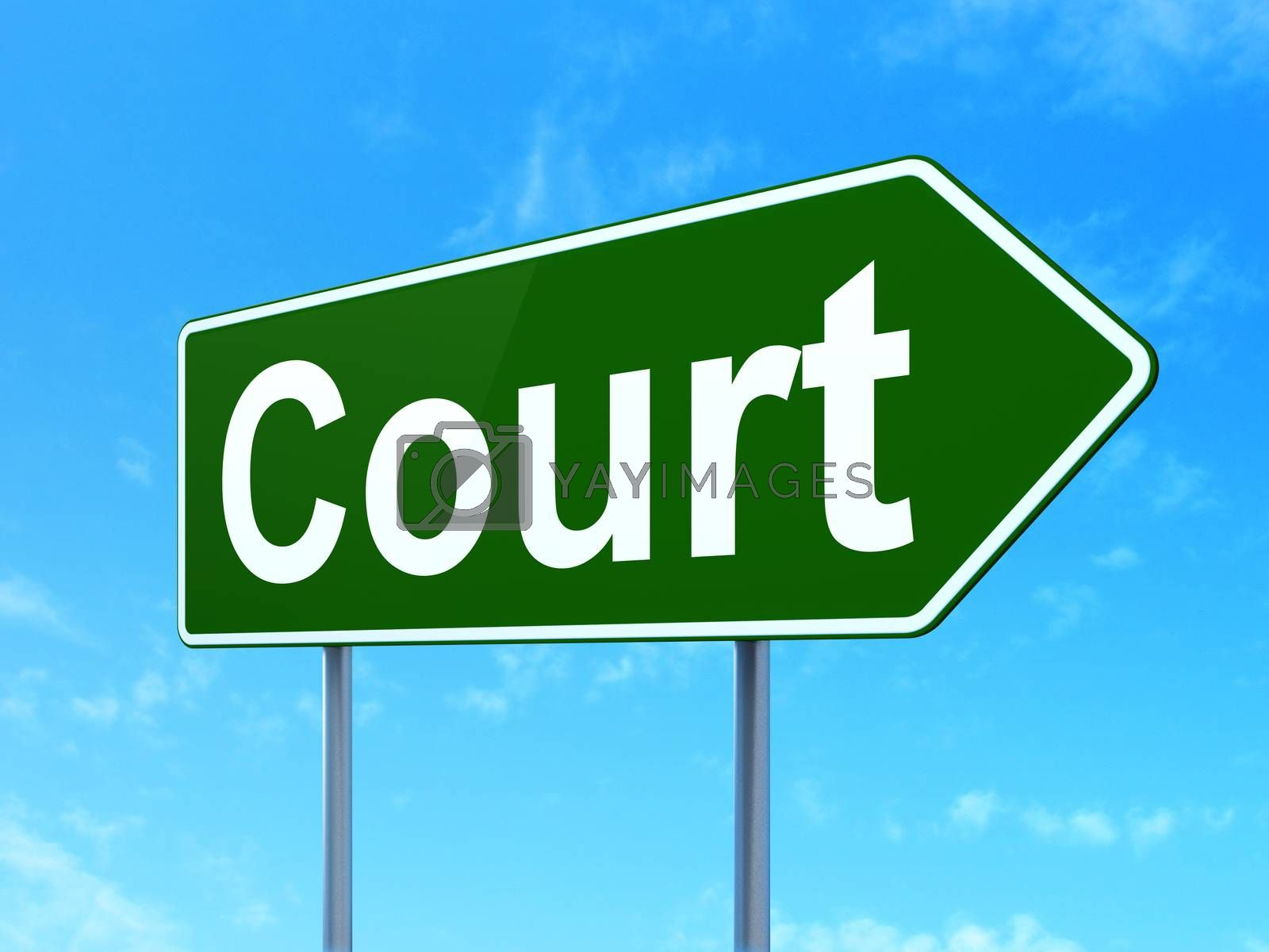 Law concept: Court on road sign background by maxkabakov