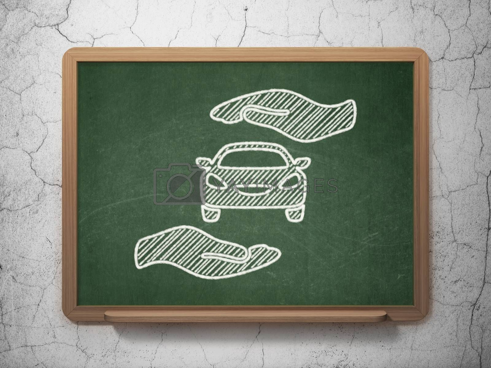 Insurance concept: Car And Palm on chalkboard background by maxkabakov