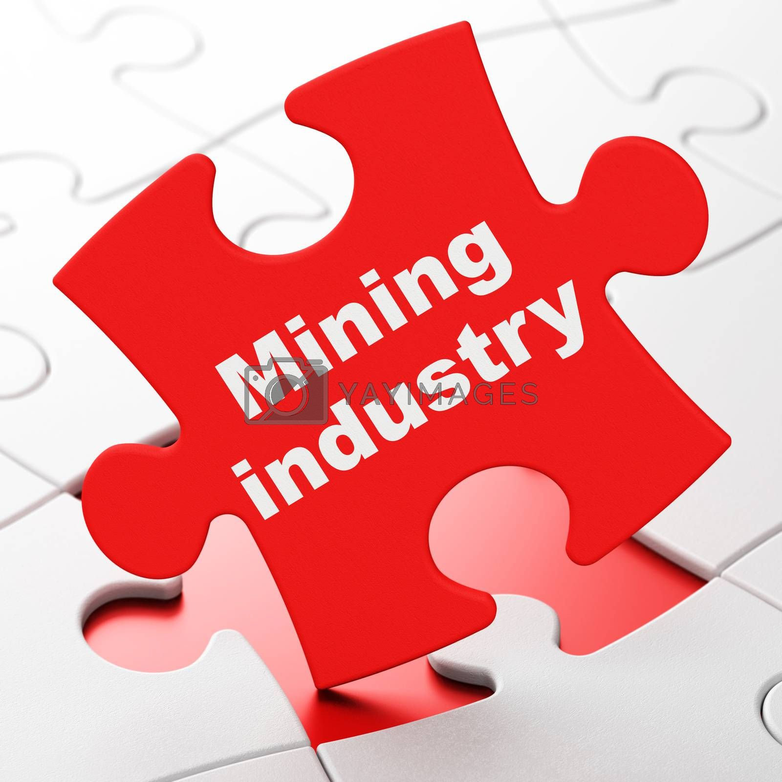 Manufacuring concept: Mining Industry on puzzle background by maxkabakov