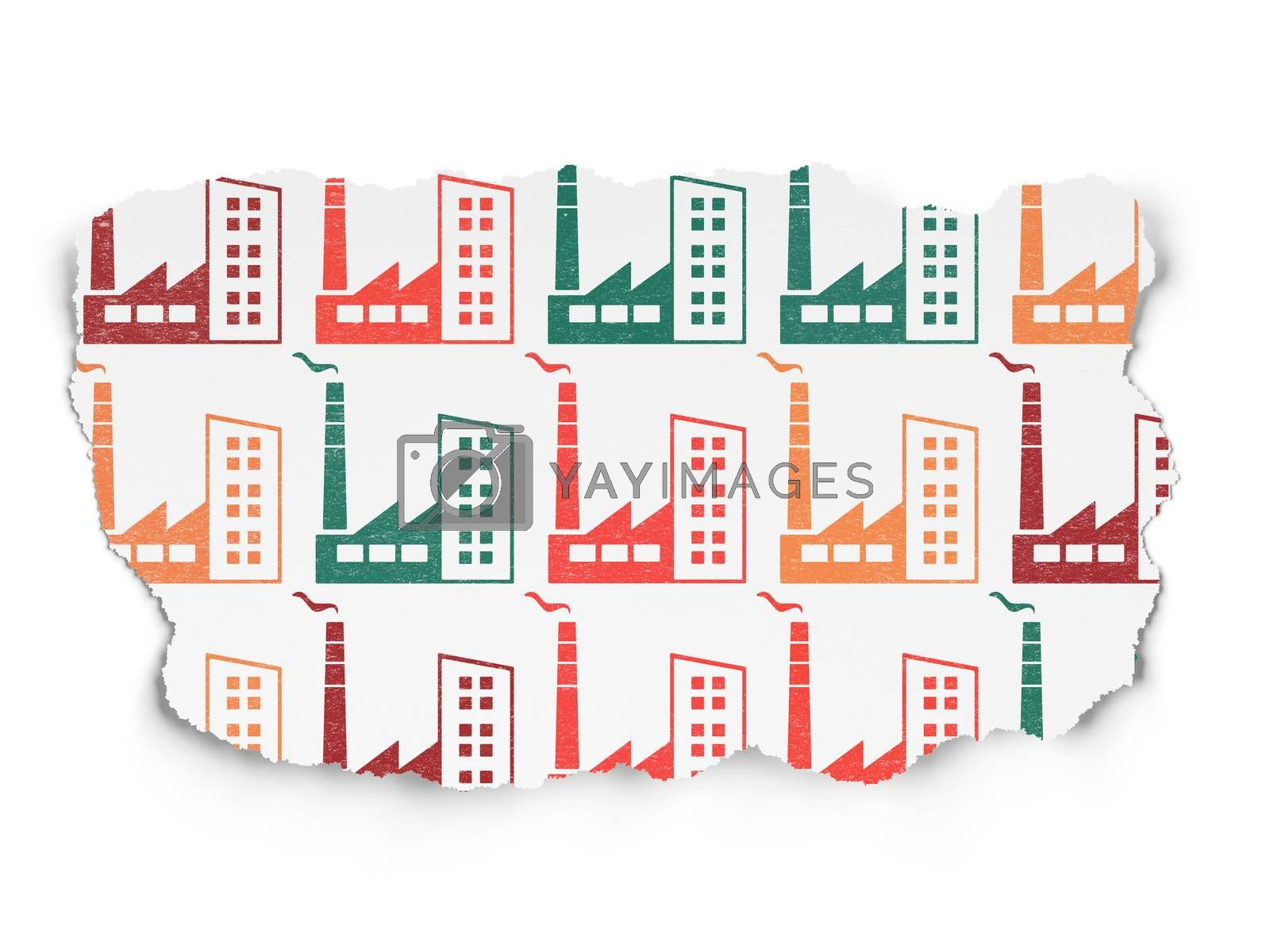 Manufacuring concept: Industry Building icons on Torn Paper background by maxkabakov