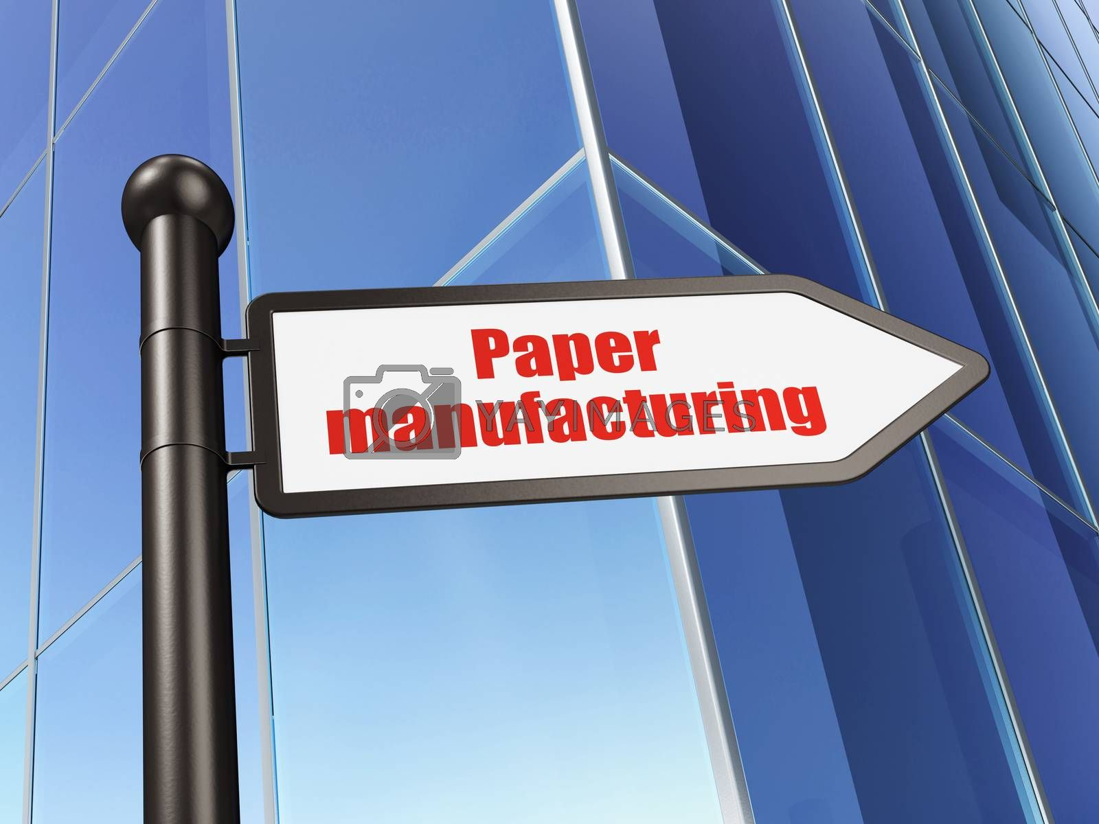 Manufacuring concept: sign Paper Manufacturing on Building background by maxkabakov