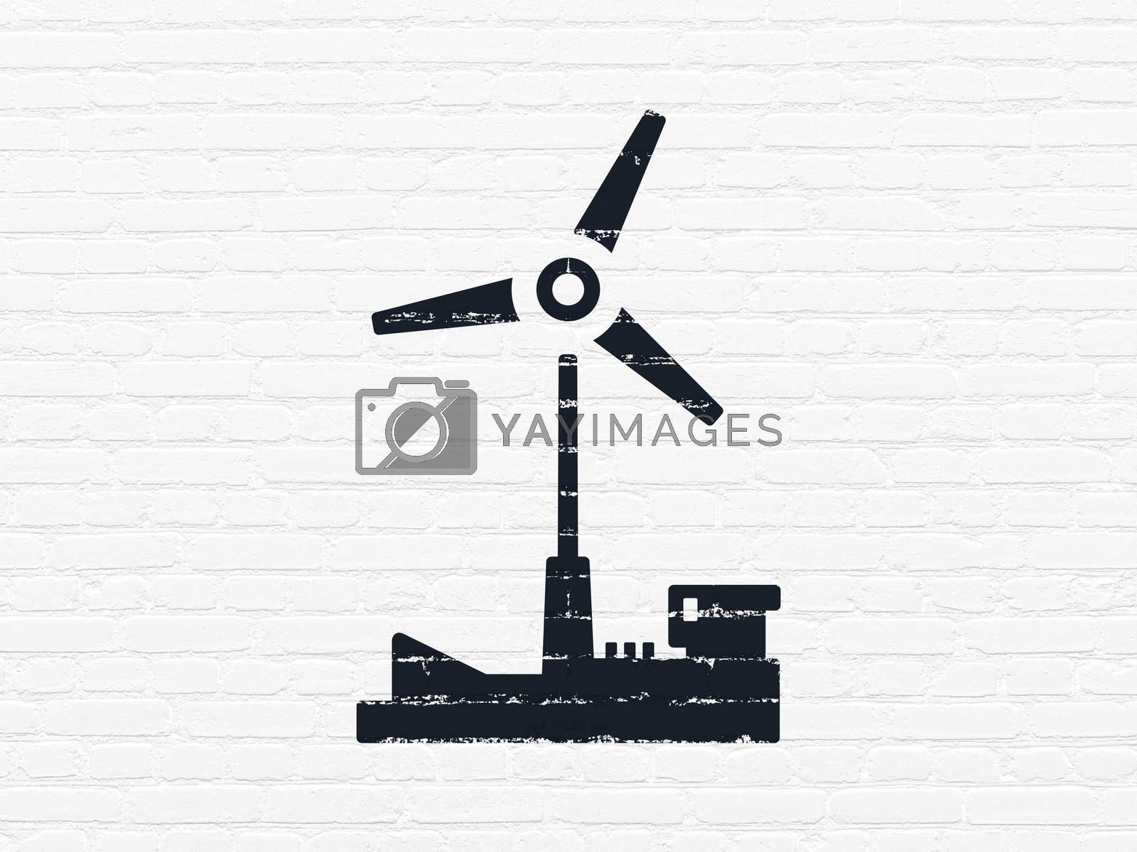 Manufacuring concept: Windmill on wall background by maxkabakov