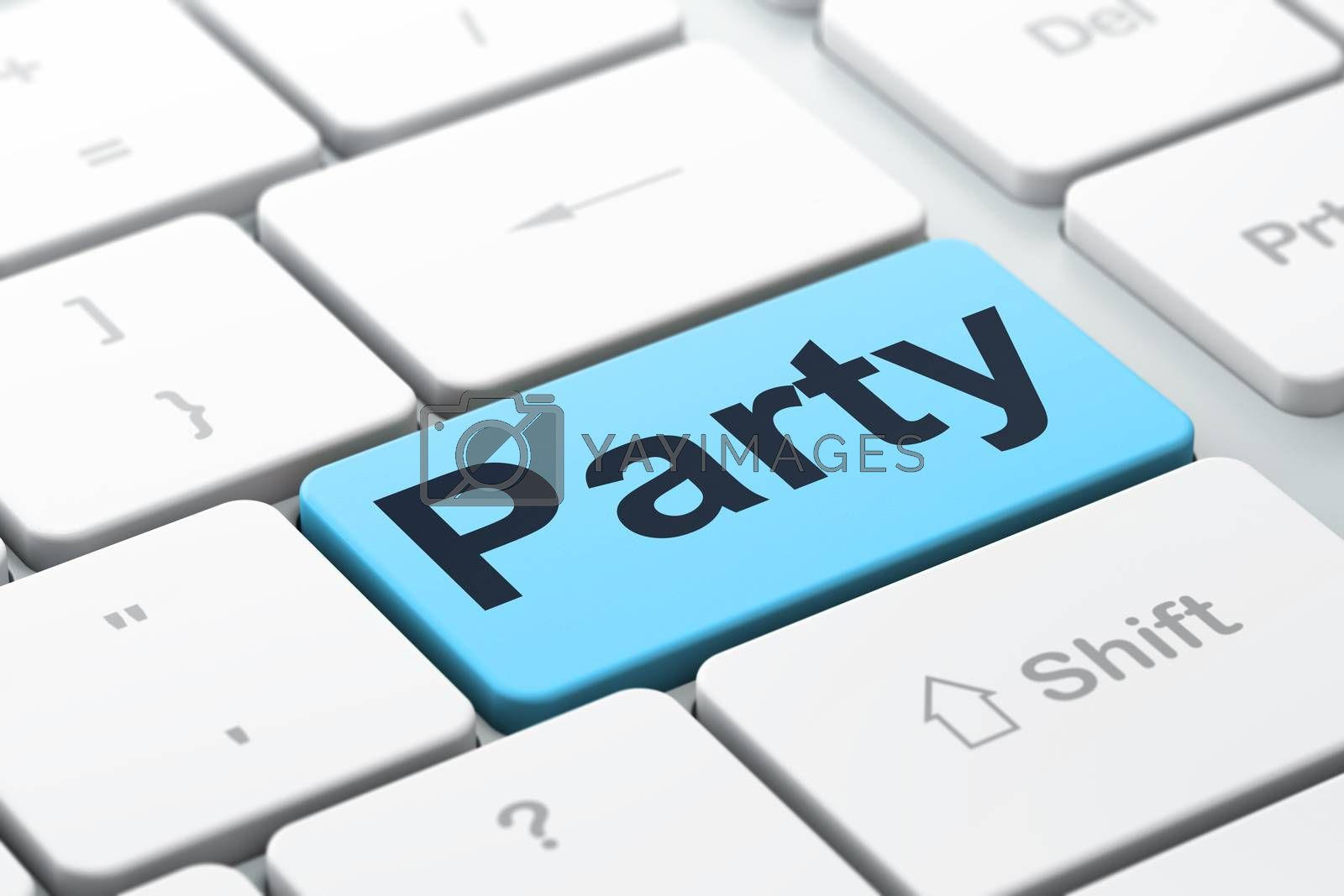 Entertainment, concept: Party on computer keyboard background by maxkabakov