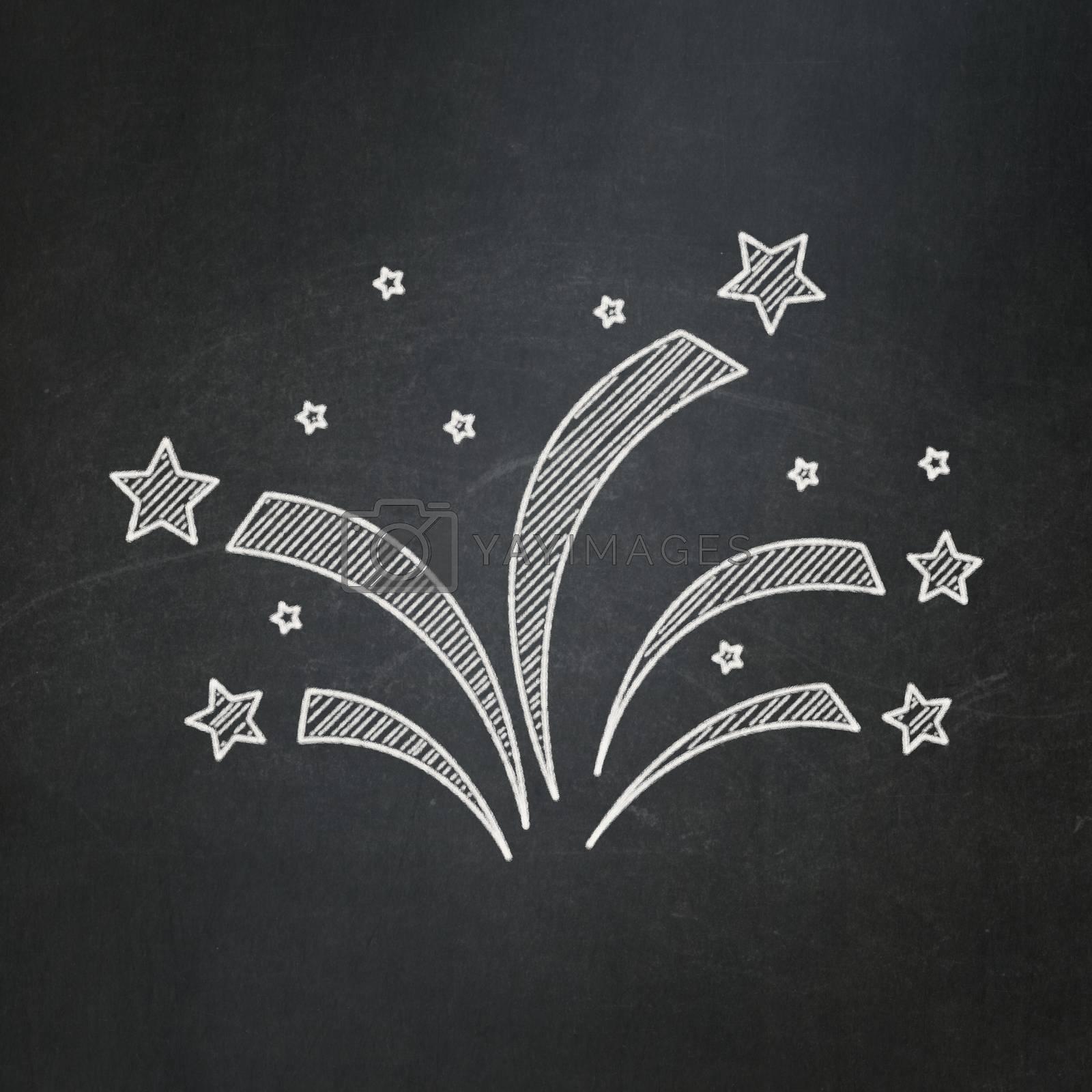 Holiday concept: Fireworks on chalkboard background by maxkabakov