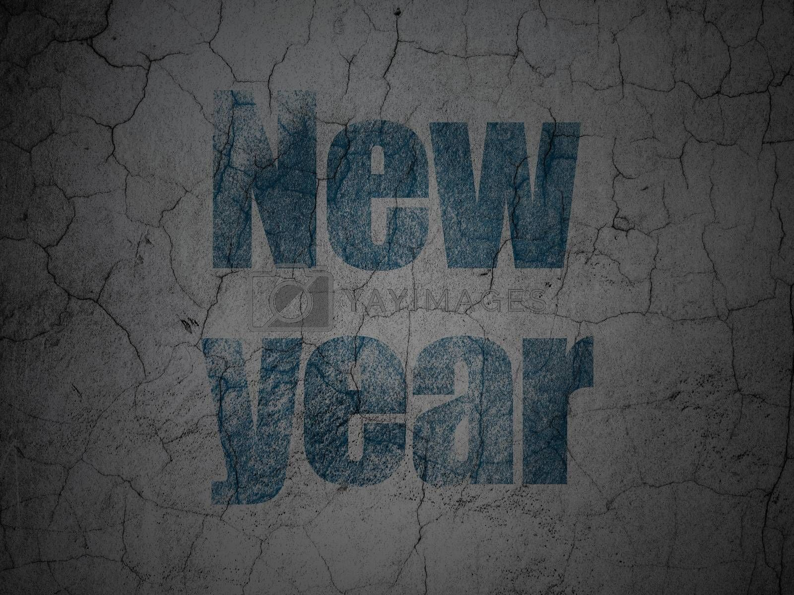 Holiday concept: New Year on grunge wall background by maxkabakov