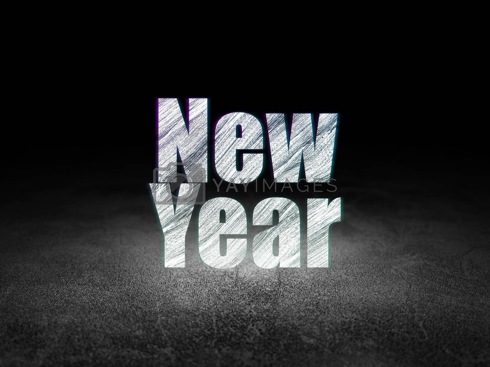 Entertainment, concept: New Year in grunge dark room by maxkabakov
