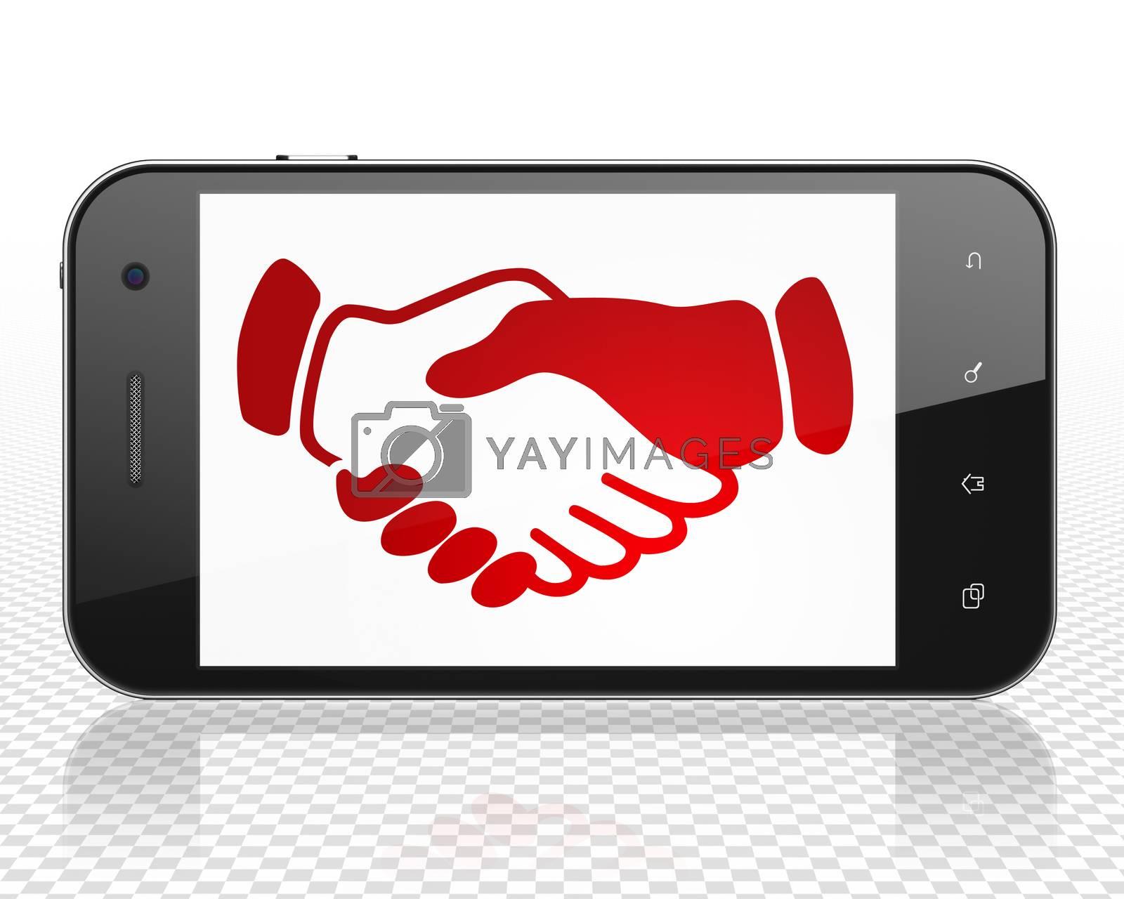 Politics concept: Smartphone with Handshake on display by maxkabakov