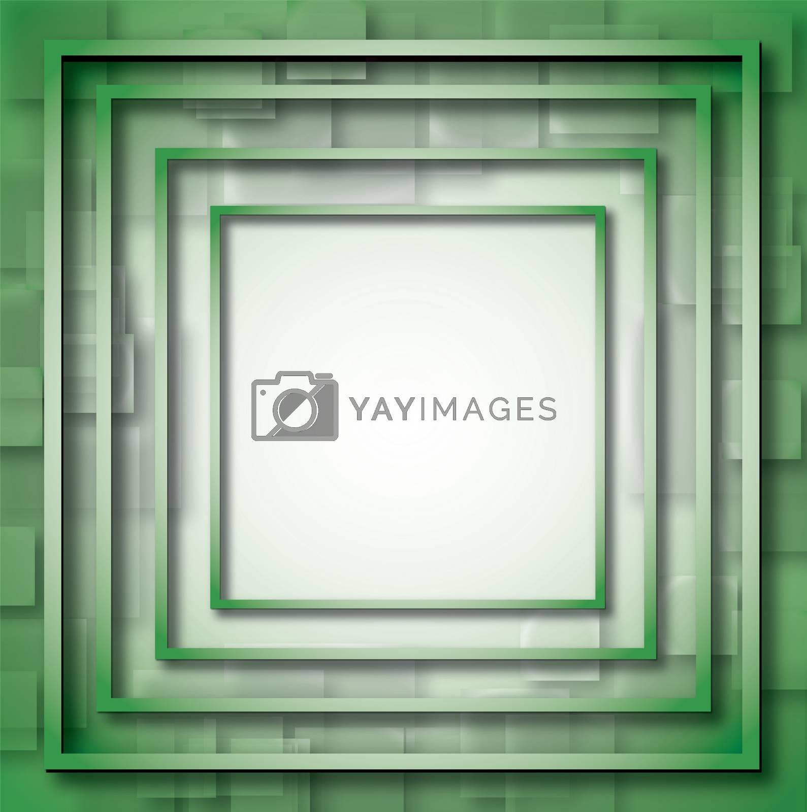 Illustration of green empty, single, colorful, web, internet, square frame. by wektorygrafika