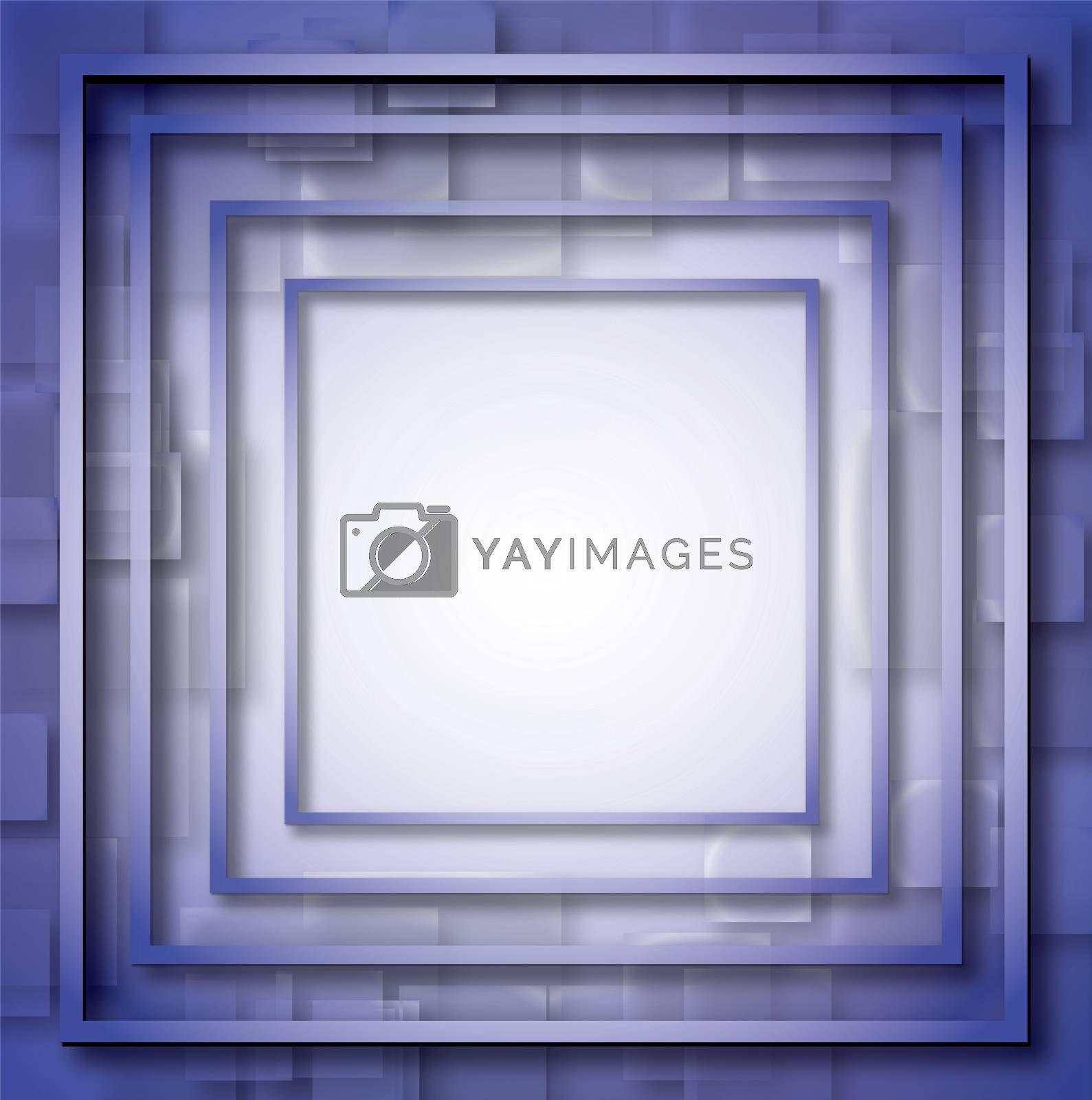 Illustration of blue empty, single, colorful, web, internet, square frame. by wektorygrafika