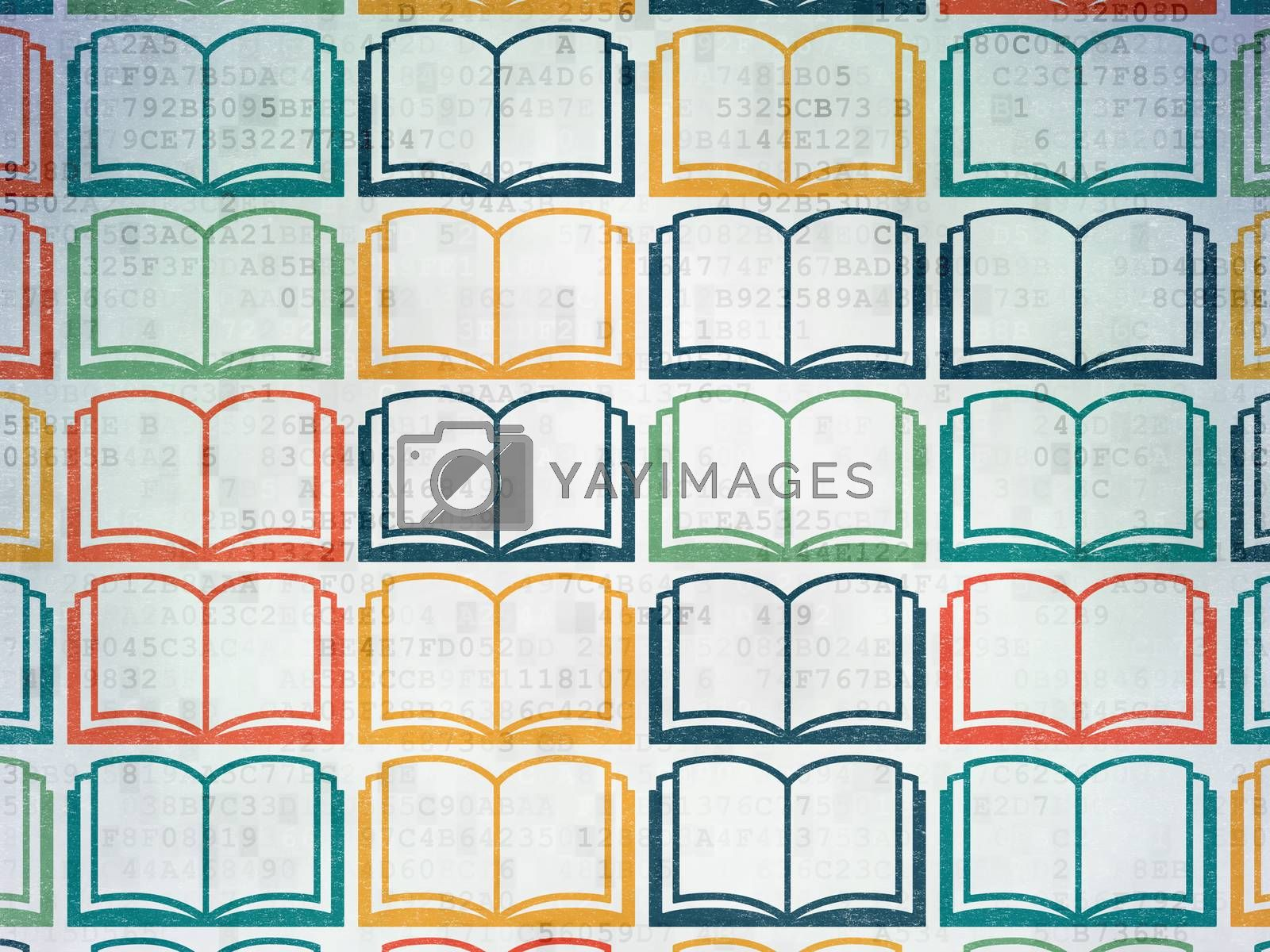 Studying concept: Book icons on Digital Paper background by maxkabakov