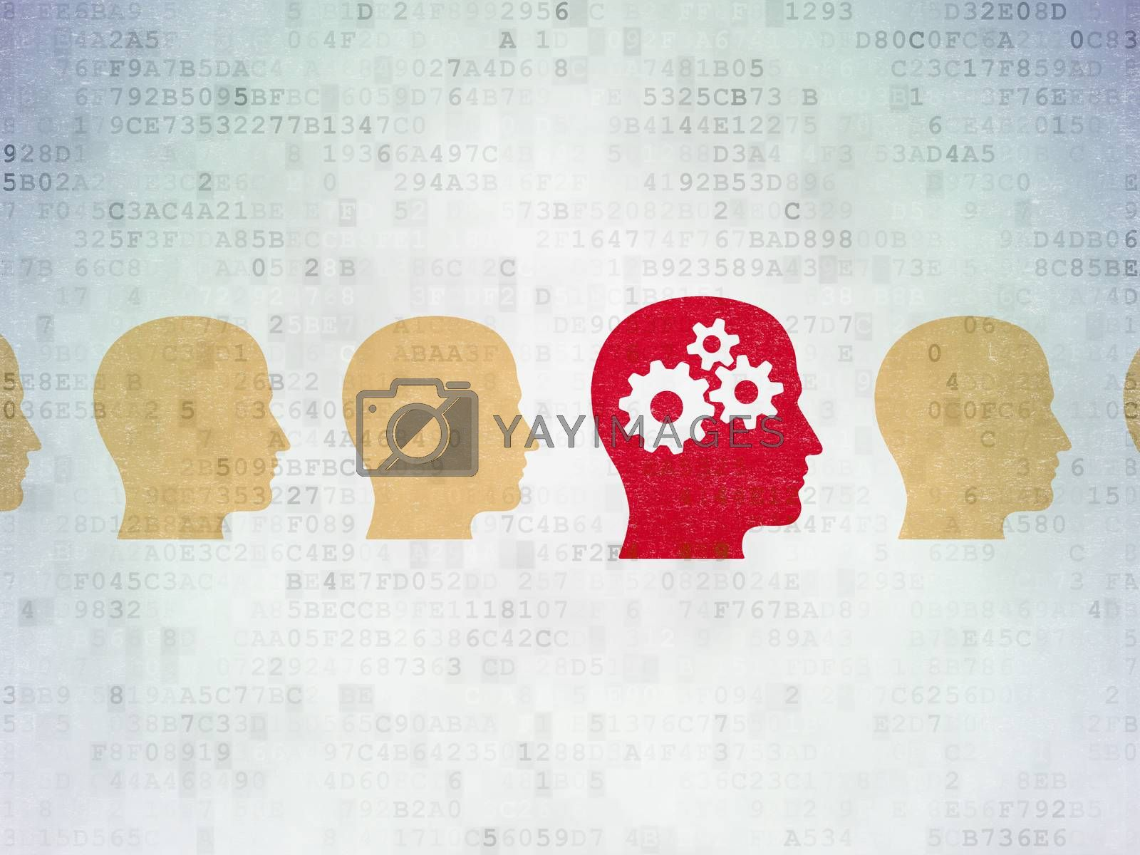 Studying concept: head with gears icon on Digital Paper background by maxkabakov