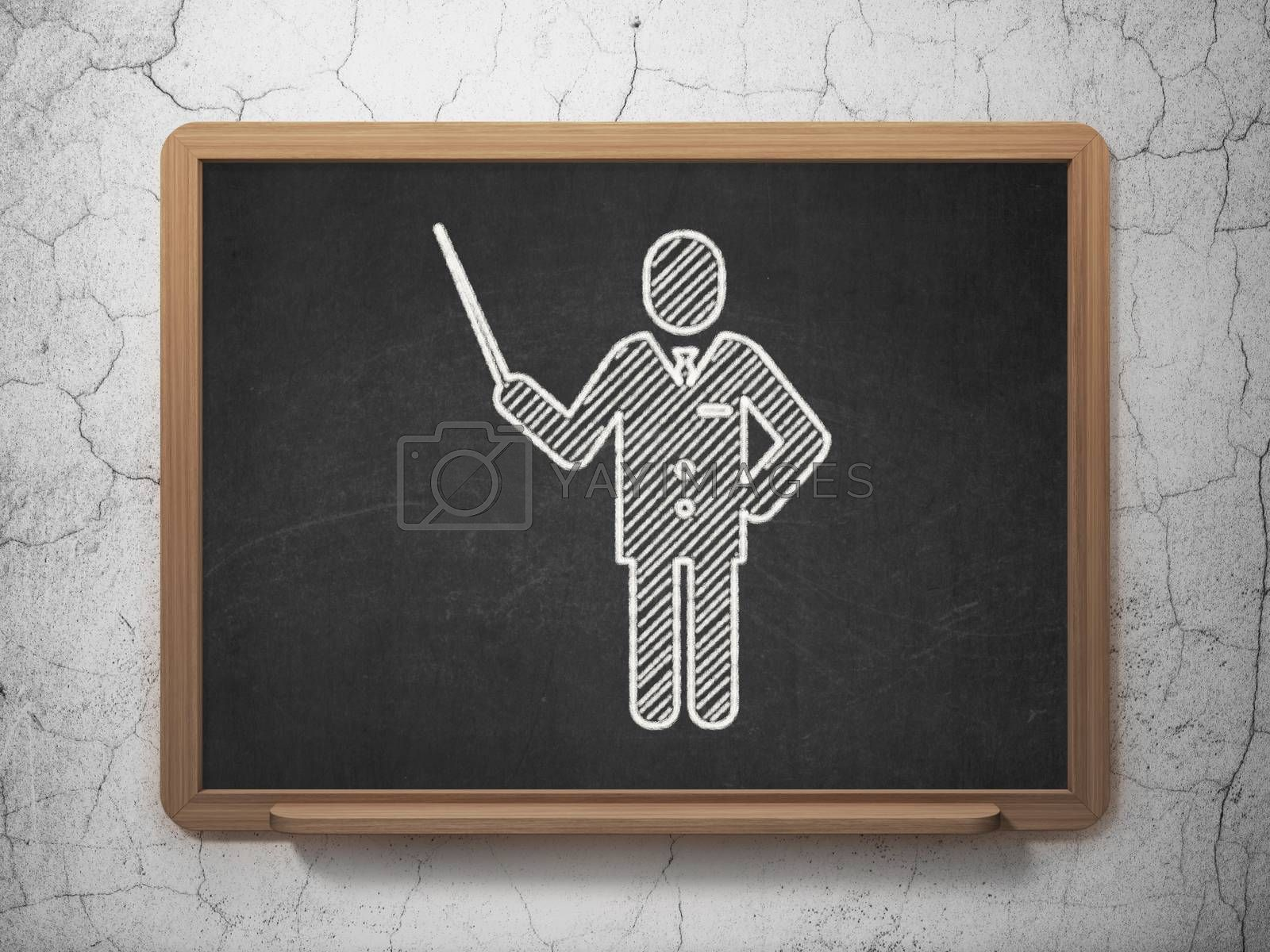 Studying concept: Teacher on chalkboard background by maxkabakov