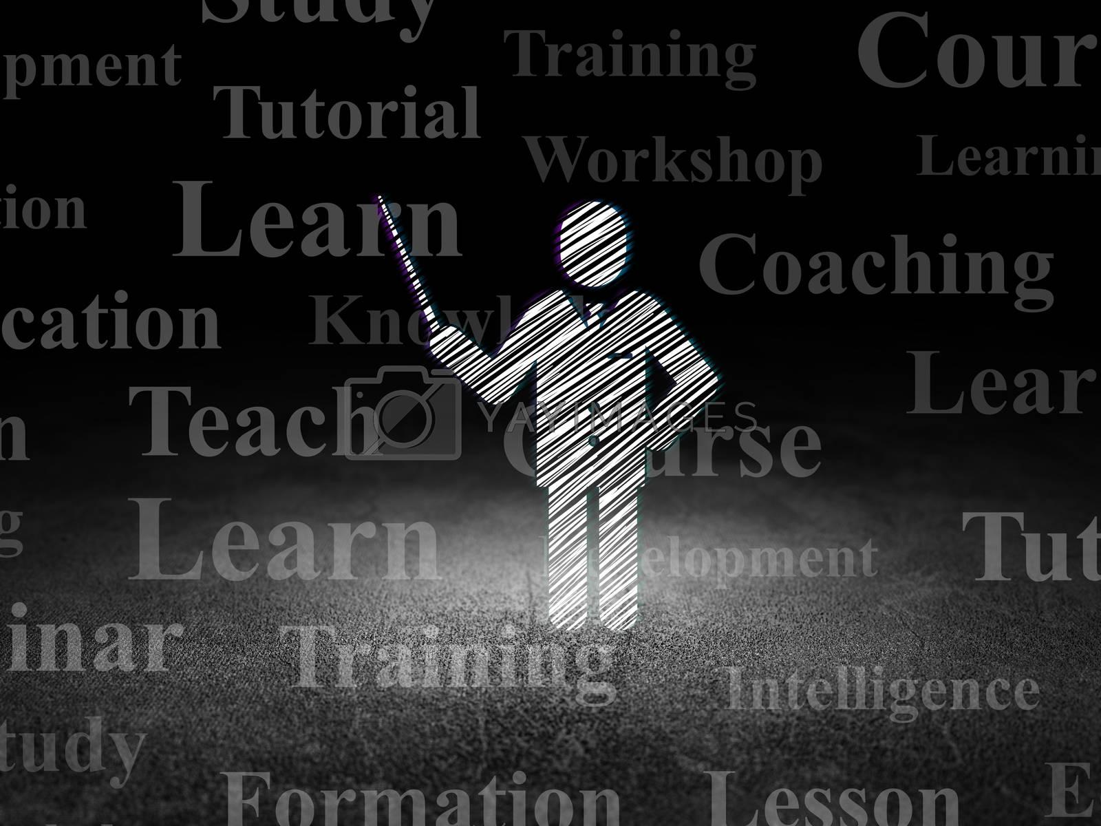 Learning concept: Teacher in grunge dark room by maxkabakov