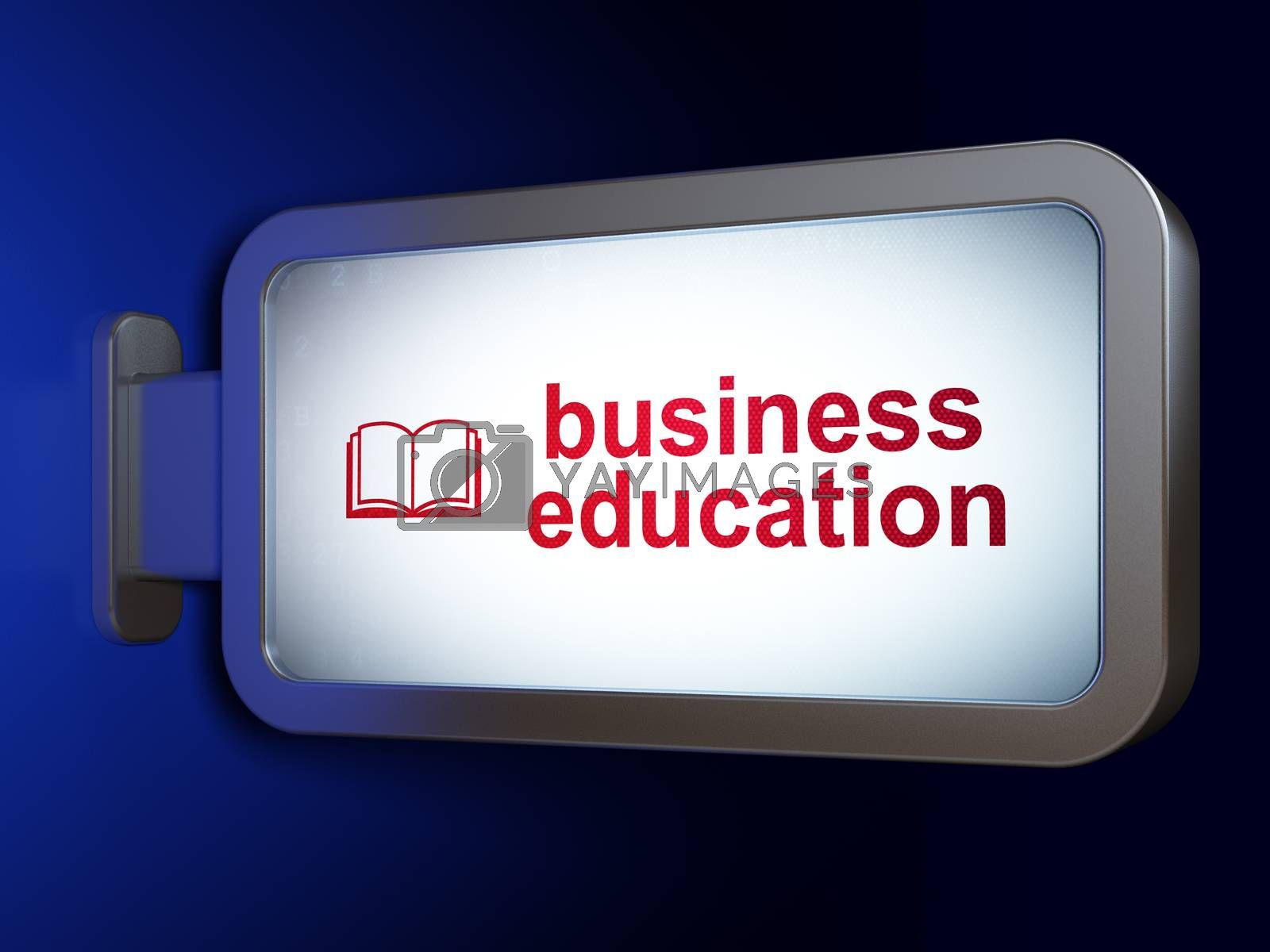 Learning concept: Business Education and Book on billboard background by maxkabakov
