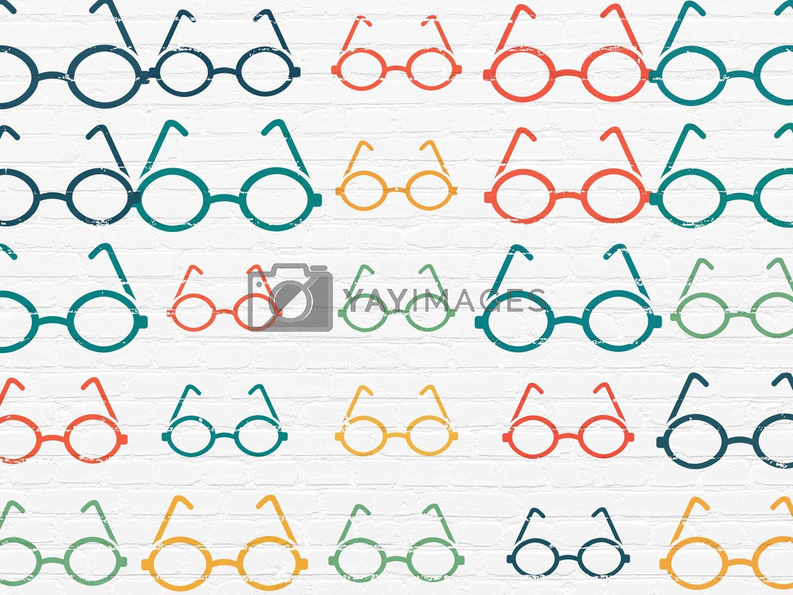 Education concept: Glasses icons on wall background by maxkabakov