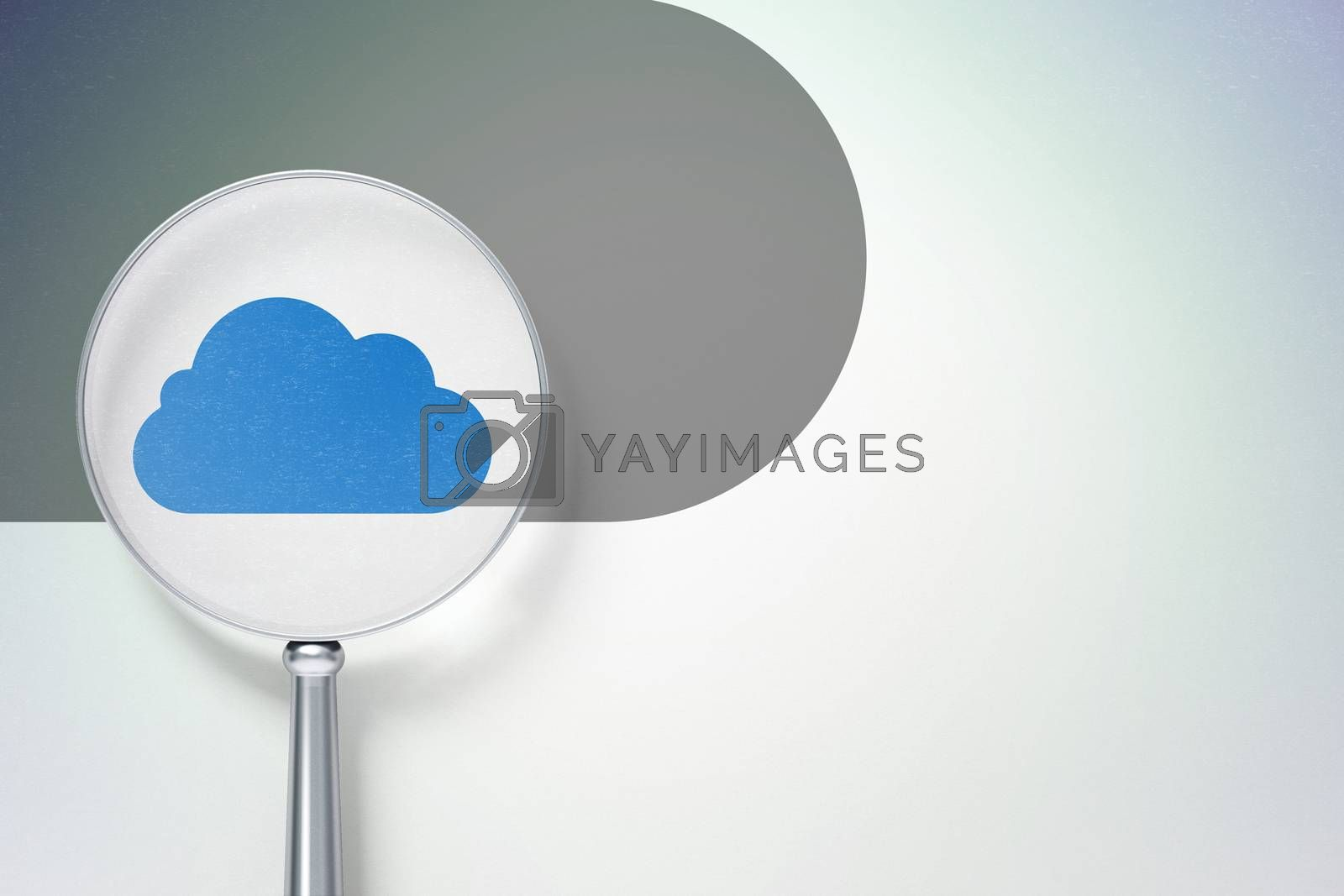 Cloud technology concept:  Cloud with optical glass on digital background by maxkabakov