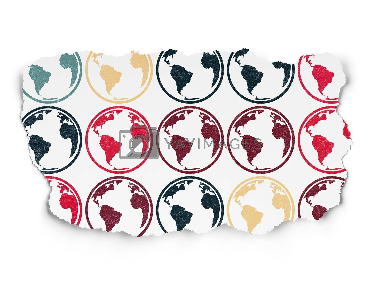 Science concept: Globe icons on Torn Paper background by maxkabakov