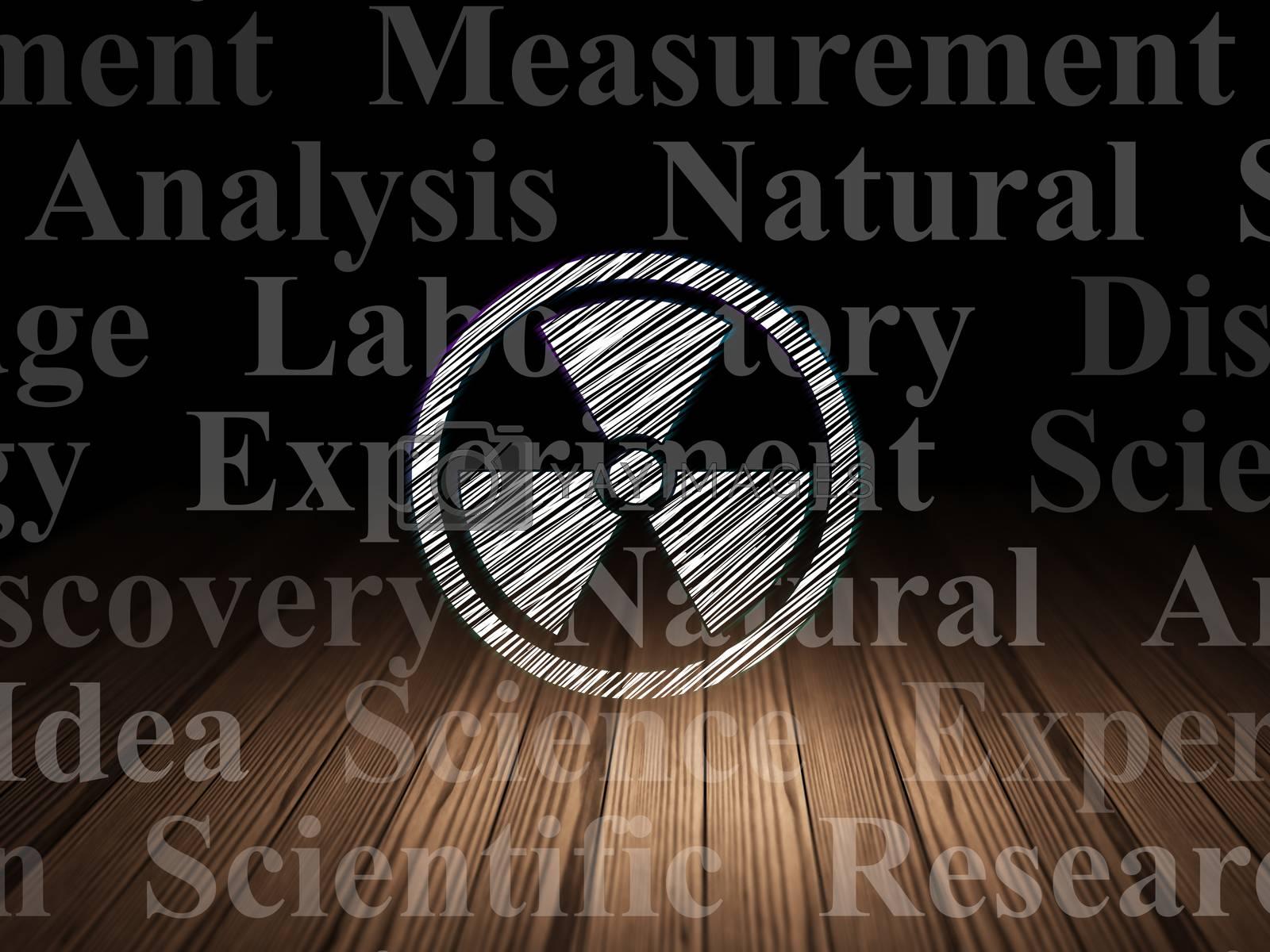 Science concept: Radiation in grunge dark room by maxkabakov