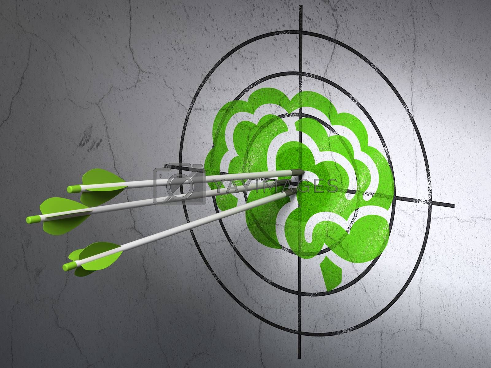 Science concept: arrows in Brain target on wall background by maxkabakov