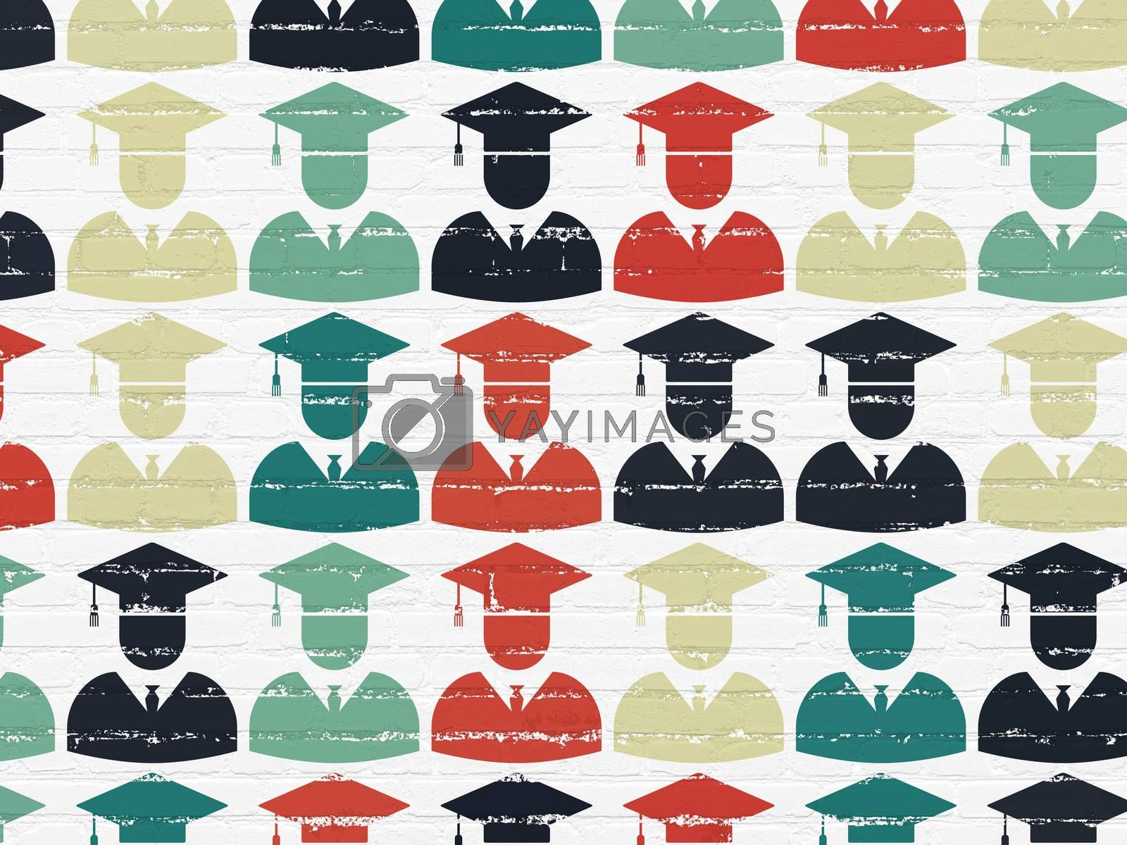 Science concept: Student icons on wall background by maxkabakov