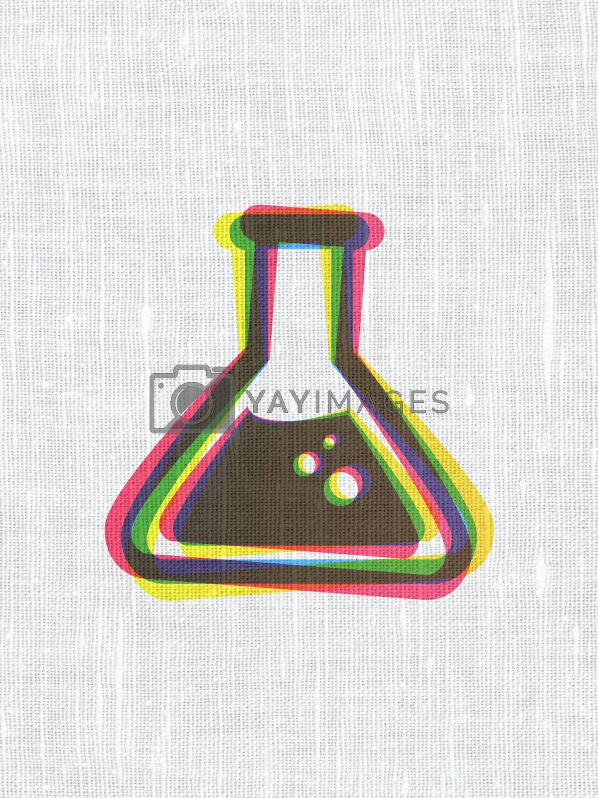 Science concept: Flask on fabric texture background by maxkabakov