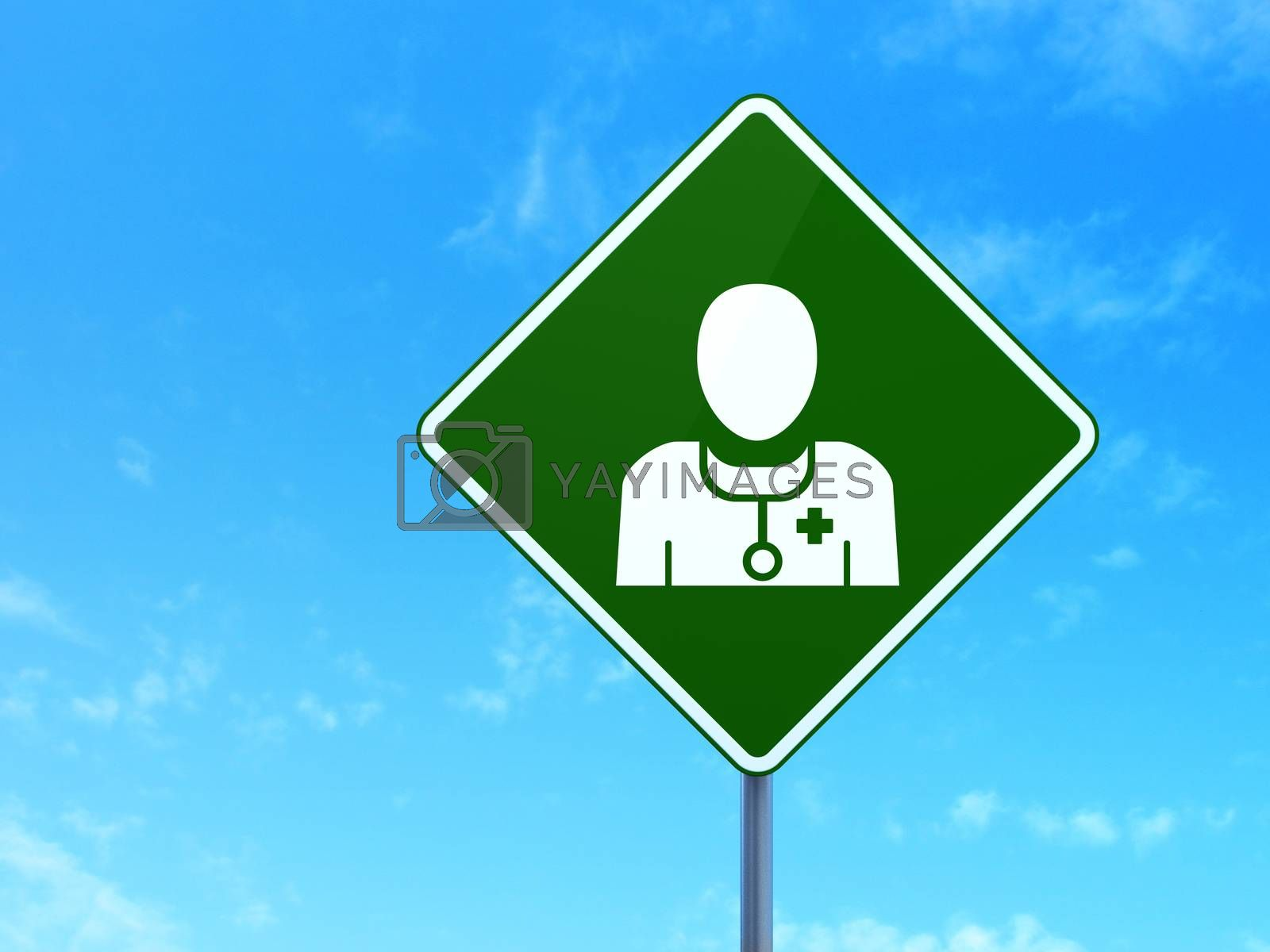 Healthcare concept: Doctor on road sign background by maxkabakov