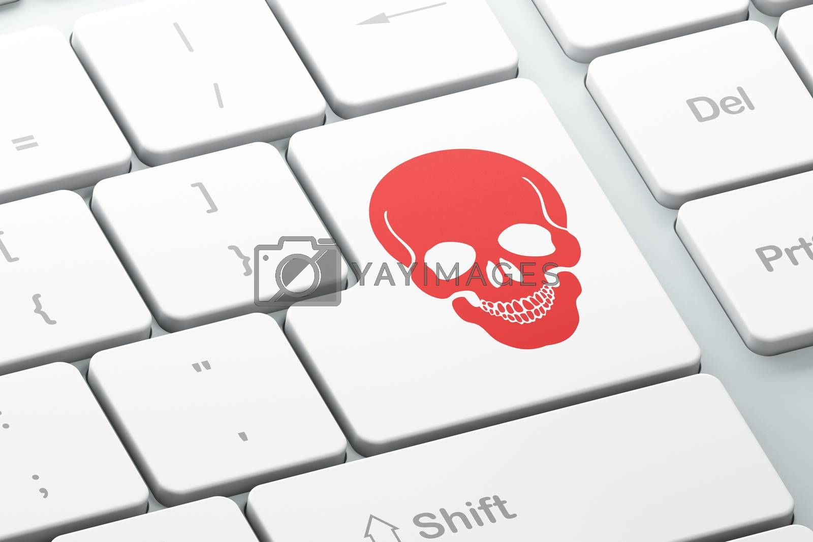 Healthcare concept: Scull on computer keyboard background by maxkabakov