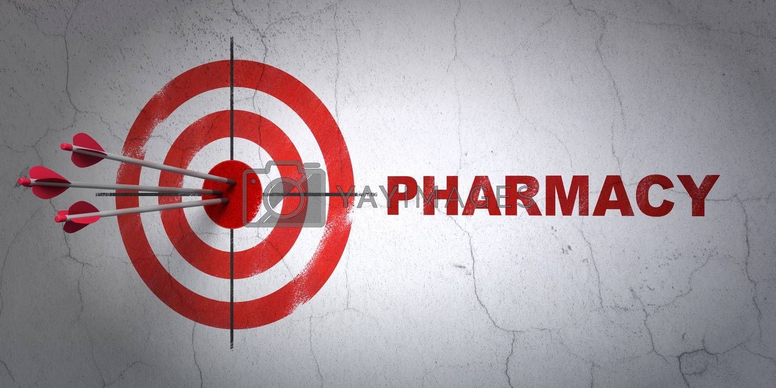 Healthcare concept: target and Pharmacy on wall background by maxkabakov