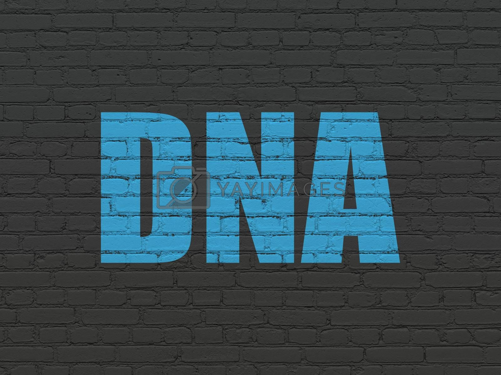 Healthcare concept: DNA on wall background by maxkabakov